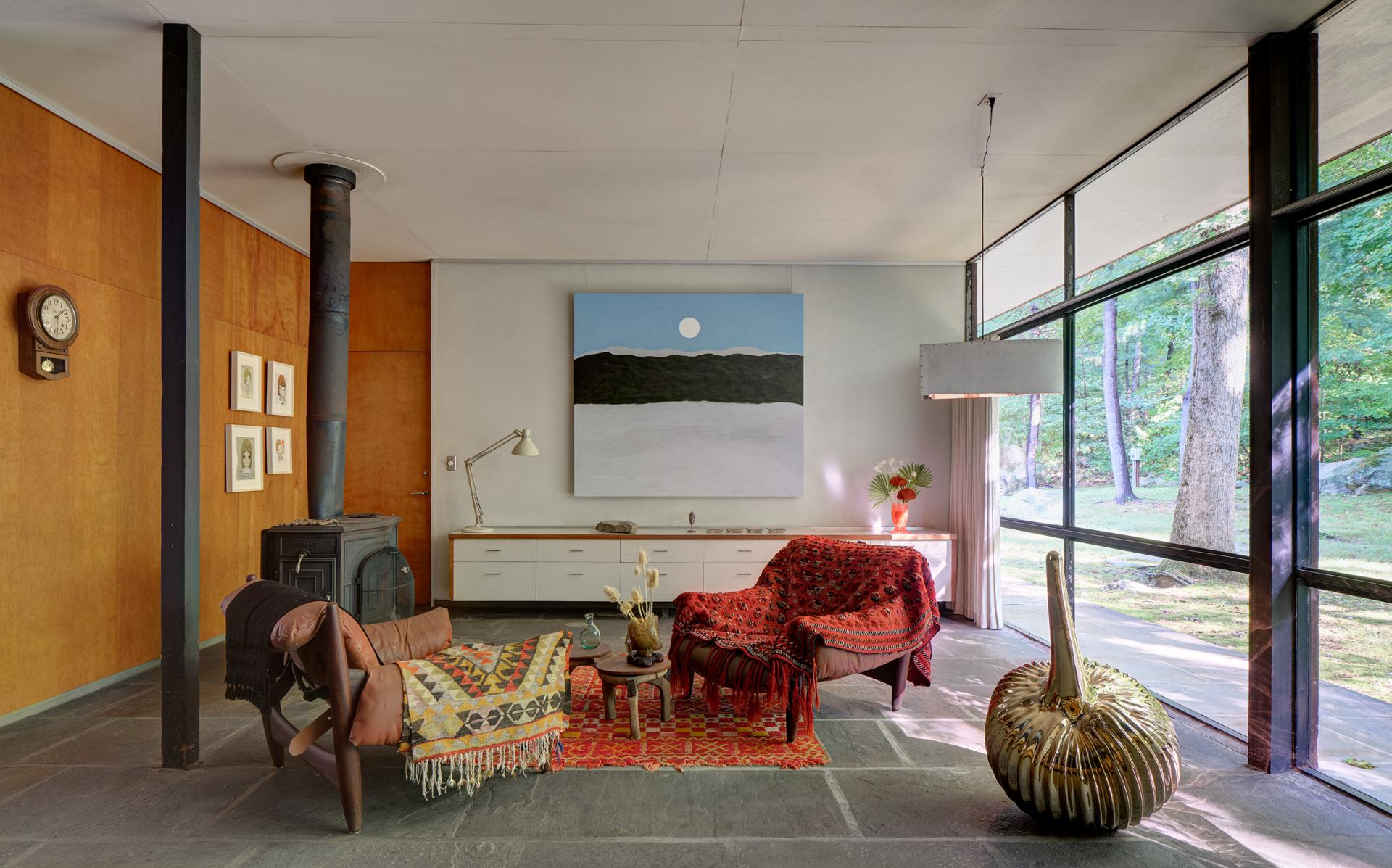 At The Noyes House: Blum & Poe, Mendes Wood DM and Object & Thing. The Noyes House, New Canaan, Connecticut. Photo by Michael Biondo. Works pictured [left to right]: Yoshitomo Nara, four drawings (2019); Patricia Leite, Entre Nuvens (2020); Gaetano Pesce, Table Top Vase (2020); Green River Project LLC, Airline Pendant (2020); Gaetano Pesce, Drip Vase (2020); Alma Allen, Not Yet Titled (2020).