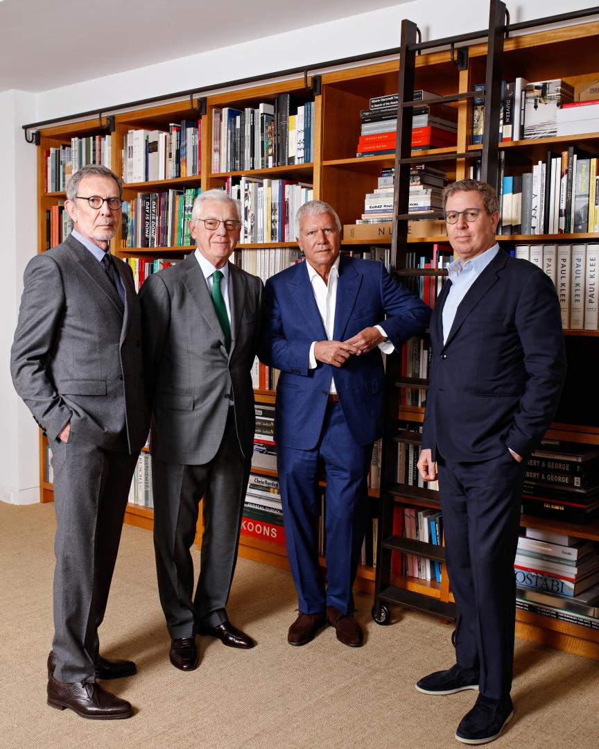 The dealers Arne Glimcher, Bill Acquavella, Larry Gagosian, and Marc Glimcher. Photo © Axel Depuex.