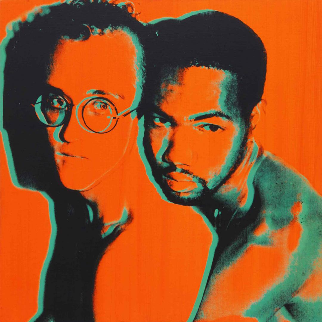 Untitled portrait of Keith Haring and Juan DuBose by Andy Warhol