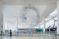"""Sarah Sze, """"Shorter than the Day,"""" 2020. Powder coated aluminum and steel. Commissioned by LaGuardia Gateway Partners in partnership with Public Art Fund for LaGuardia Airport's Terminal B. Photo: Nicholas Knight, Courtesy of the artist; LaGuardia Gateway Partners; Public Art Fund, NY; © Sarah Sze"""