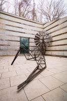 """Scott Hocking, """"Arkansas Traveler,"""" 2019–20. Steel, iron, aluminum, wood, fiberglass, rope, bone char/Black Bone pigment, various hardware, and other mixed media. Dimensions variable. Courtesy of the artist and David Klein Gallery, Detroit. On view at Crystal Bridges Museum of American Art."""