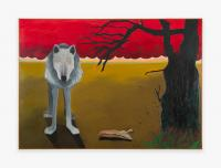 Joan Brown, Grey Wolf with Red Clouds and Dark Tree, 1968. Oil on canvas, 61 x 85 1/4 in; (154.9 x 216.5 cm). Private collection, courtesy Venus Over Manhattan, New York.