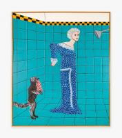 Joan Brown, Woman Preparing for a Shower, 1975. Enamel on canvas, 84 x 72 in (213.4 x 182.9 cm). Courtesy di Rosa Center for Contemporary Art, and Venus Over Manhattan, New York.