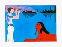 Joan Brown, David with Sphinx, 1978. Acrylic on paper; Sheet: 18 x 24 in (45.7 x 61 cm), Framed: 18 1/4 x 25 3/8 in (46.4 x 64.3 cm). Courtesy di Rosa Center for Contemporary Art, and Venus Over Manhattan, New York.