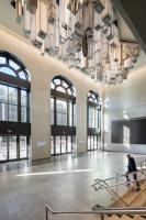 Elmgreen & Dragset, The Hive, 2020. Stainless steel, aluminum, polycarbonate, LED lights, and lacquer. Commissioned by Empire State Development in partnership with Public Art Fund for Moynihan Train Hall. Photo: Nicholas Knight, courtesy Empire State Development and Public Art Fund, NY