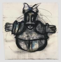 Joyce Pensato, Daisy, 2012. Charcoal and pastel on paper, 115 1/2 x 113 1/2 inches (293.4 x 288.3 cm). Courtesy The Joyce Pensato Estate and Petzel, New York.