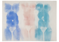 David Hammons, Untitled, 1975. Grease and pigment on paper. 30 1/4 x 39 3/4 inches (76.8 x 101 cm). Hudgins Family Collection, New York