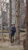 Maya Lin within Ghost Forest, 2021. Courtesy the artist and Madison Square Park Conservancy. Photo credit: Andy Romer