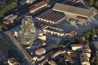 Aerial view of the site, June 2019. Luma Arles, Parc des Ateliers, Arles (France) © Dronimages