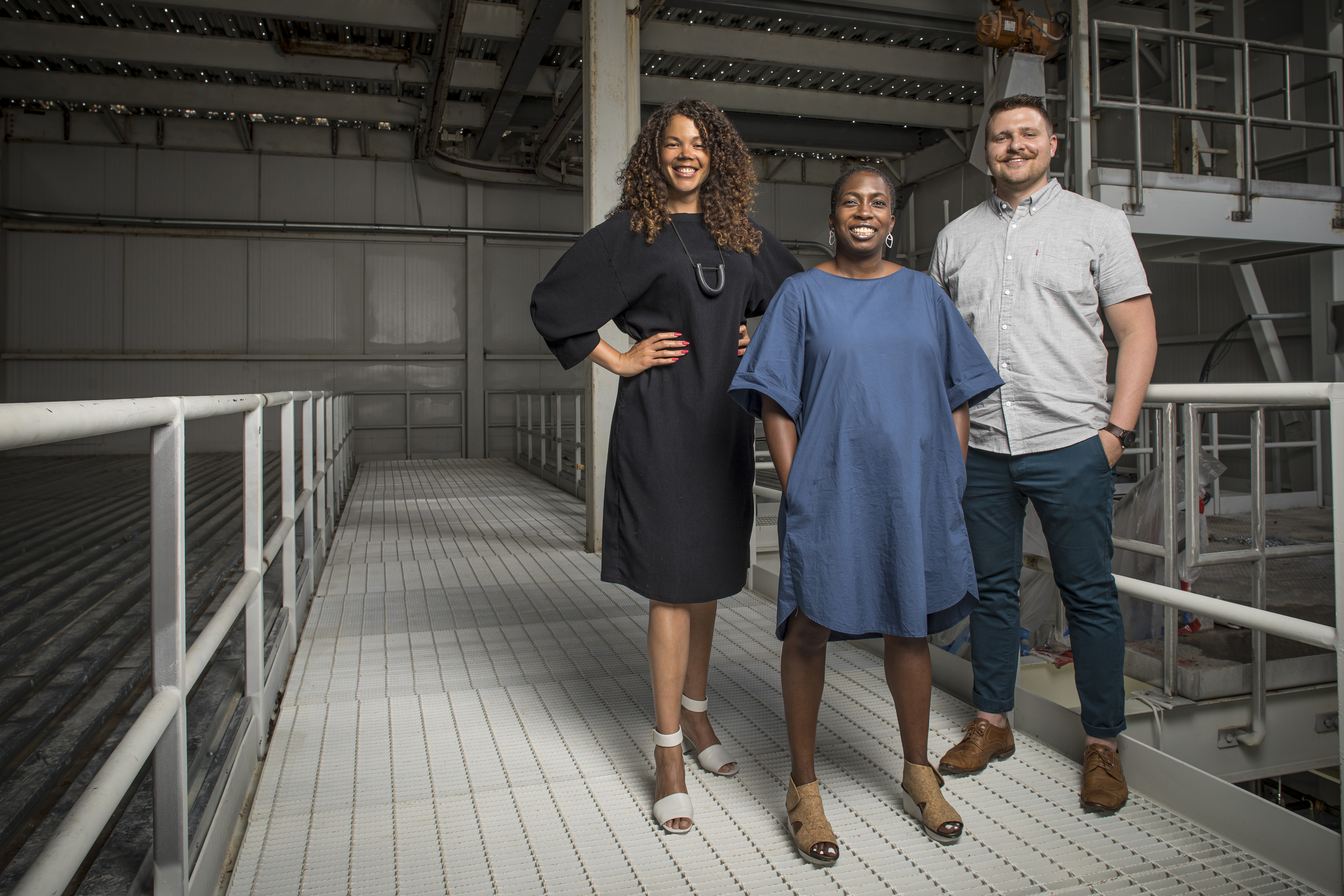 "The ""State of the Art 2020"" curators (left to right) Allison Glenn, Lauren Haynes, and Alejo Benedetti at the Momentary, courtesy of Crystal Bridges Museum of American Art."