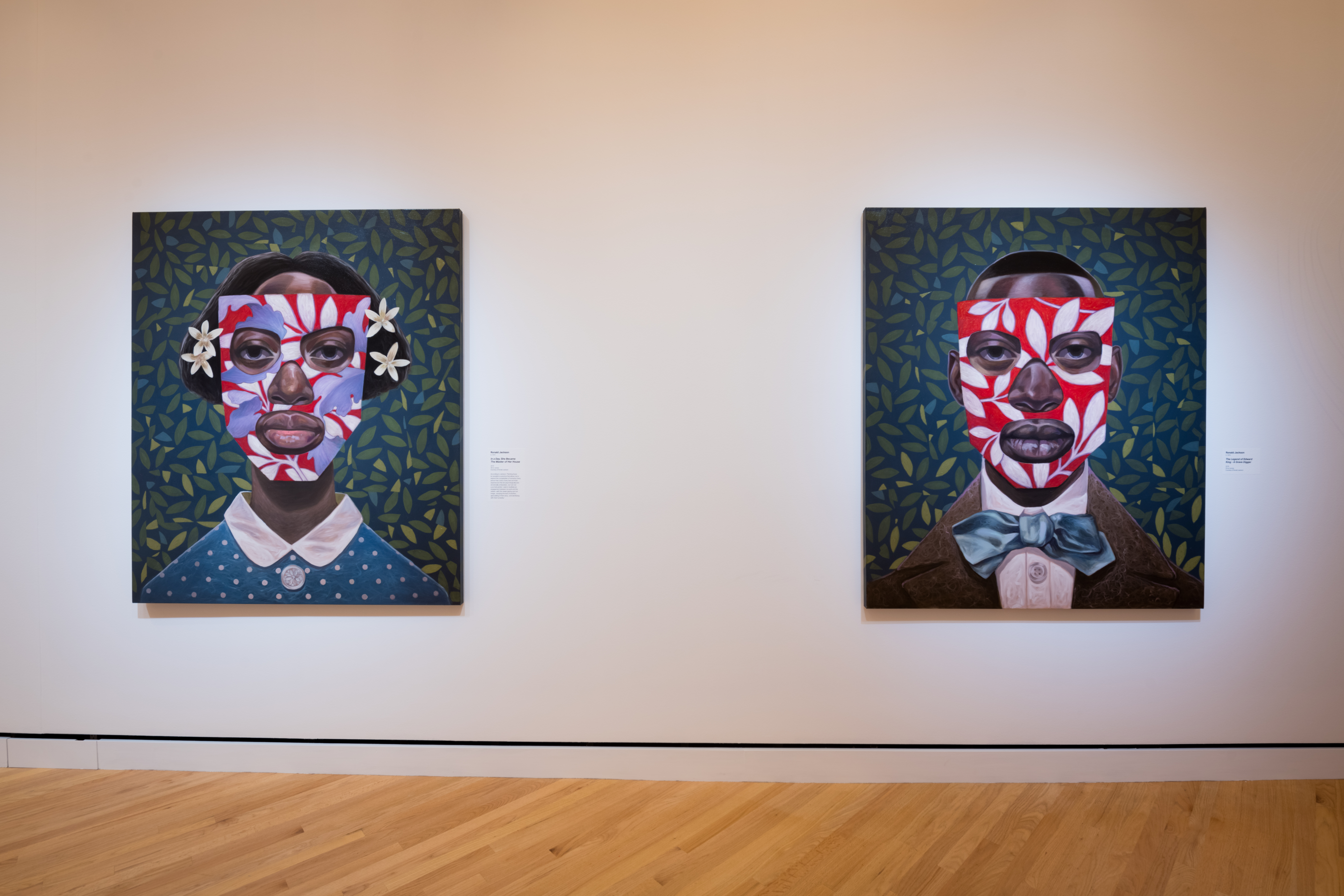"""(Left) Ronald Jackson, """"In a Day, She Became the Master of Her House,"""" 2019. Oil on canvas, 65 x 55 x 1 3⁄4 in. (Right), Ronald Jackson, """"The Legend of Edward King—A Grave Digger,"""" 2019. Oil on canvas, 65 x 55 x 1 3⁄4 in. Both works courtesy of Ronald Jackson. On view at Crystal Bridges Museum of American Art."""