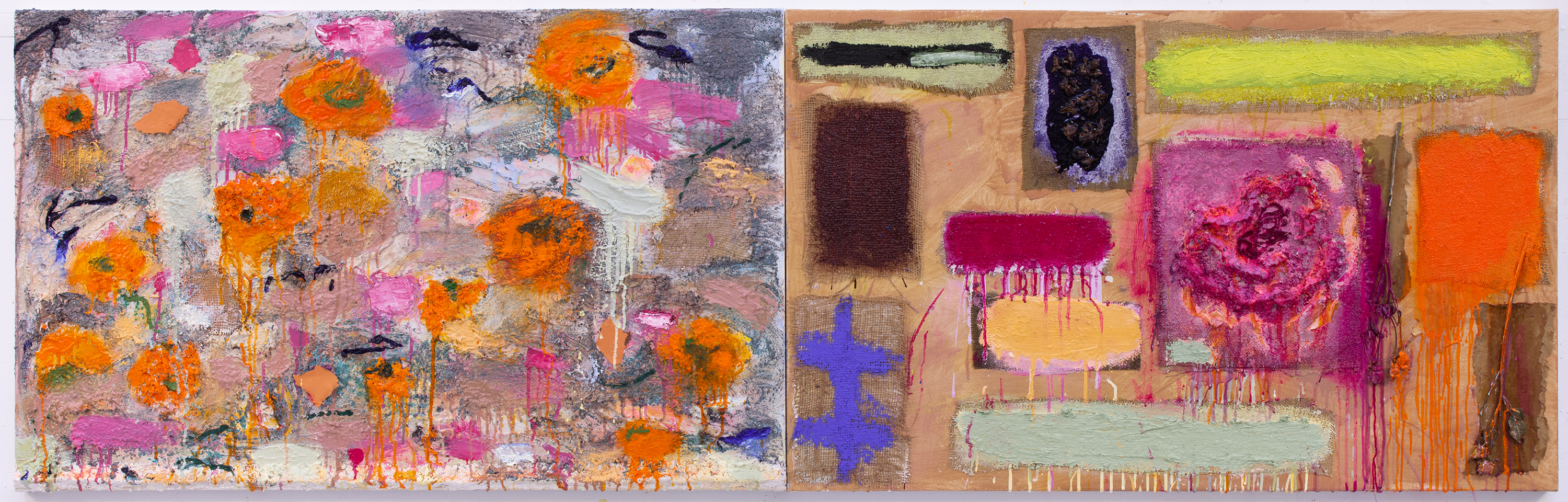 "Joan Snyder, ""Field Marks,"" 2019. Oil, acrylic, burlap, paper, rose stems on canvas 30 × 96 inches (76.20 × 243.84 cm). Courtesy the artist and Canada New York."