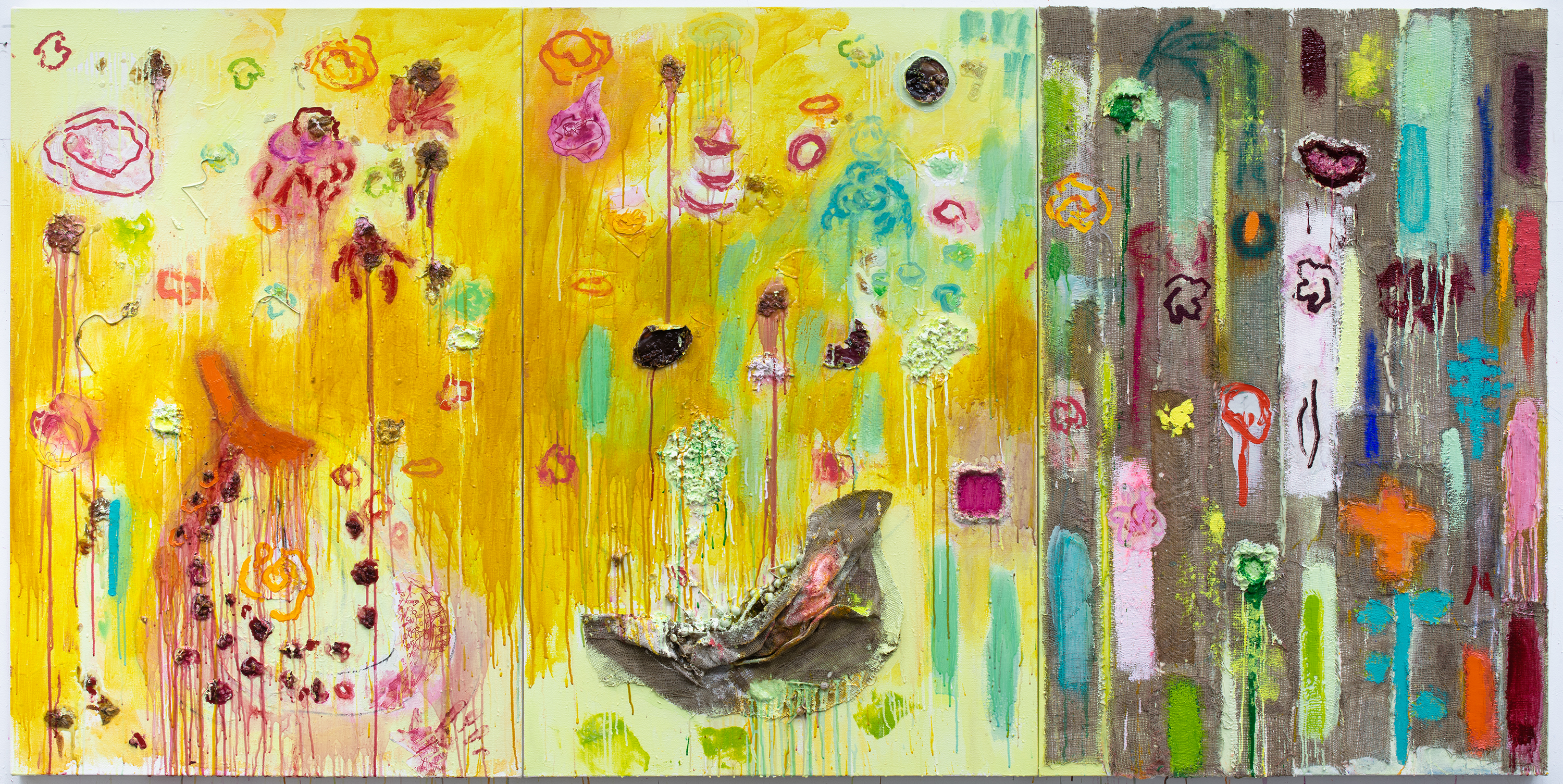 "Joan Snyder, ""Ode to Summer,"" 2019. Oil, acrylic, paper mache, burlap, poppy pods, dried flowers on canvas 60 × 120 inches (152.40 × 304.80 cm). Courtesy the artist and Canada New York."
