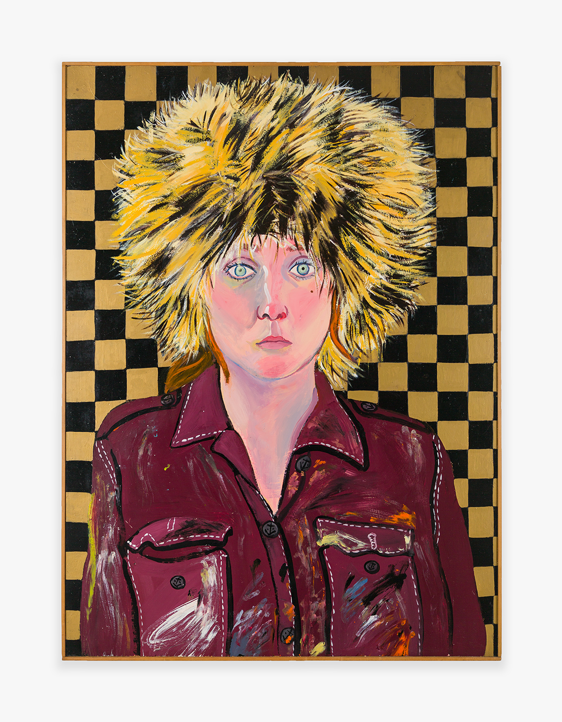 Joan Brown, Self-Portrait in Fur Hat, 1972. Oil enamel on panel; Work: 40 5/8 x 29 3/4 in (103.2 x 75.6 cm) Framed: 41 1/4 x 30 1/4 in (104.8 x 76.8 cm). Courtesy di Rosa Center for Contemporary Art, Napa, and Venus Over Manhattan, New York.