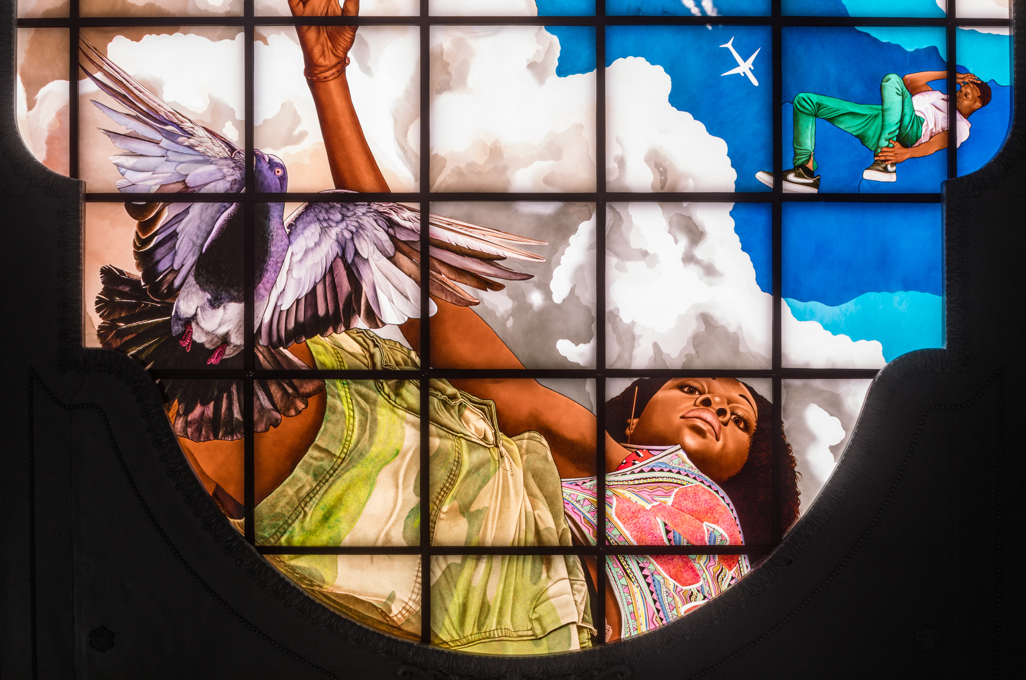 Kehinde Wiley, Go, 2020. © Kehinde Wiley. An original work of art commissioned by Empire State Development in partnership with Public Art Fund for Moynihan Train Hall.  Photographer: Nicholas Knight. Image courtesy of the Artist, Sean Kelly, New York, Empire State Development and Public Art Fund, NY