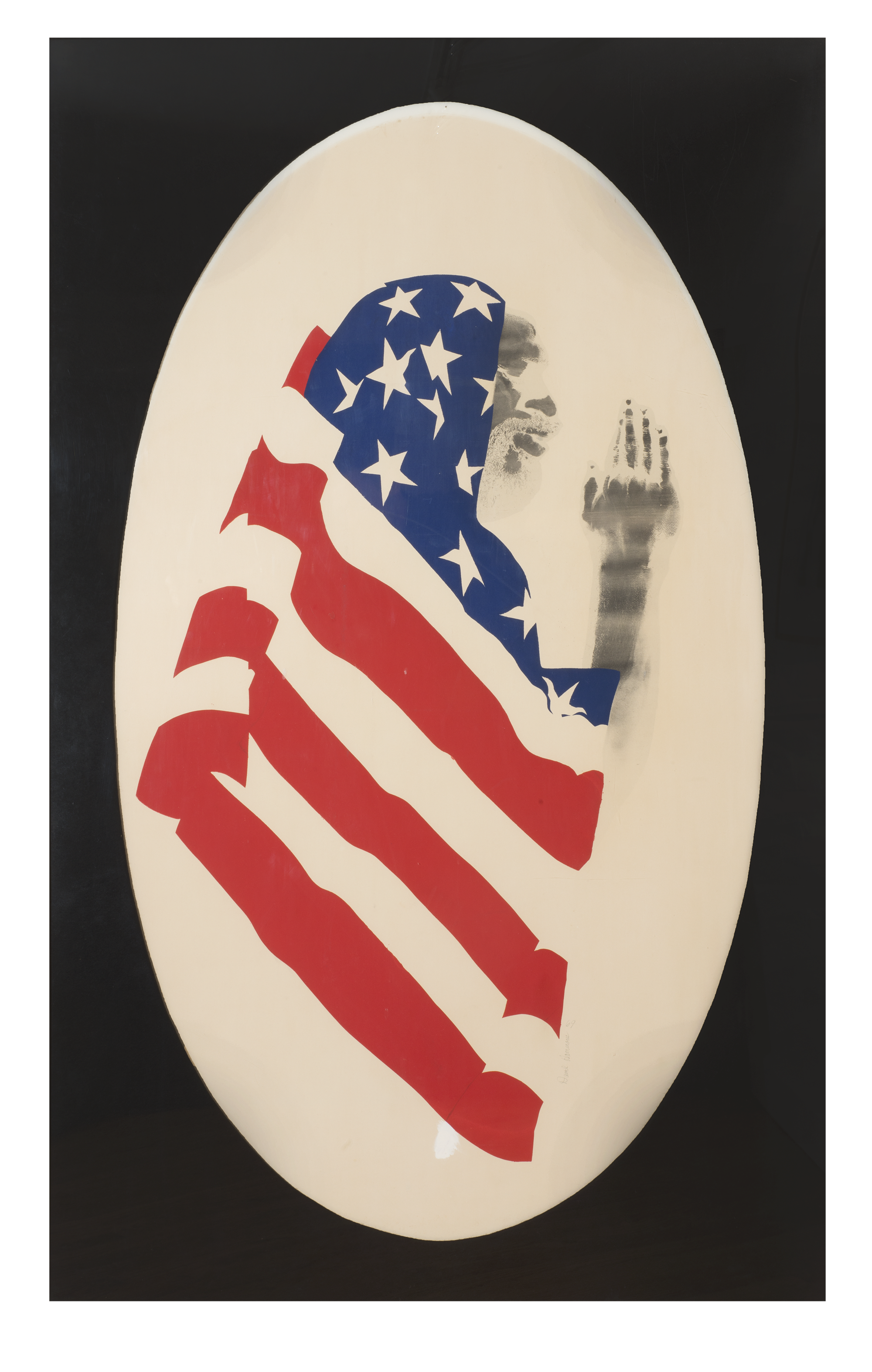 David Hammons, Pray for America, 1974. Screenprint and pigment on paper, 60 1/2 x 30 inches (153.7 × 76.2 cm). The Museum of Modern Art, New York and The Studio Museum Harlem. Gift to The Museum of Modern Art and The Studio Museum in Harlem by the Hudgins Family in honor of David Rockefeller on his 100th birthday, 2015.
