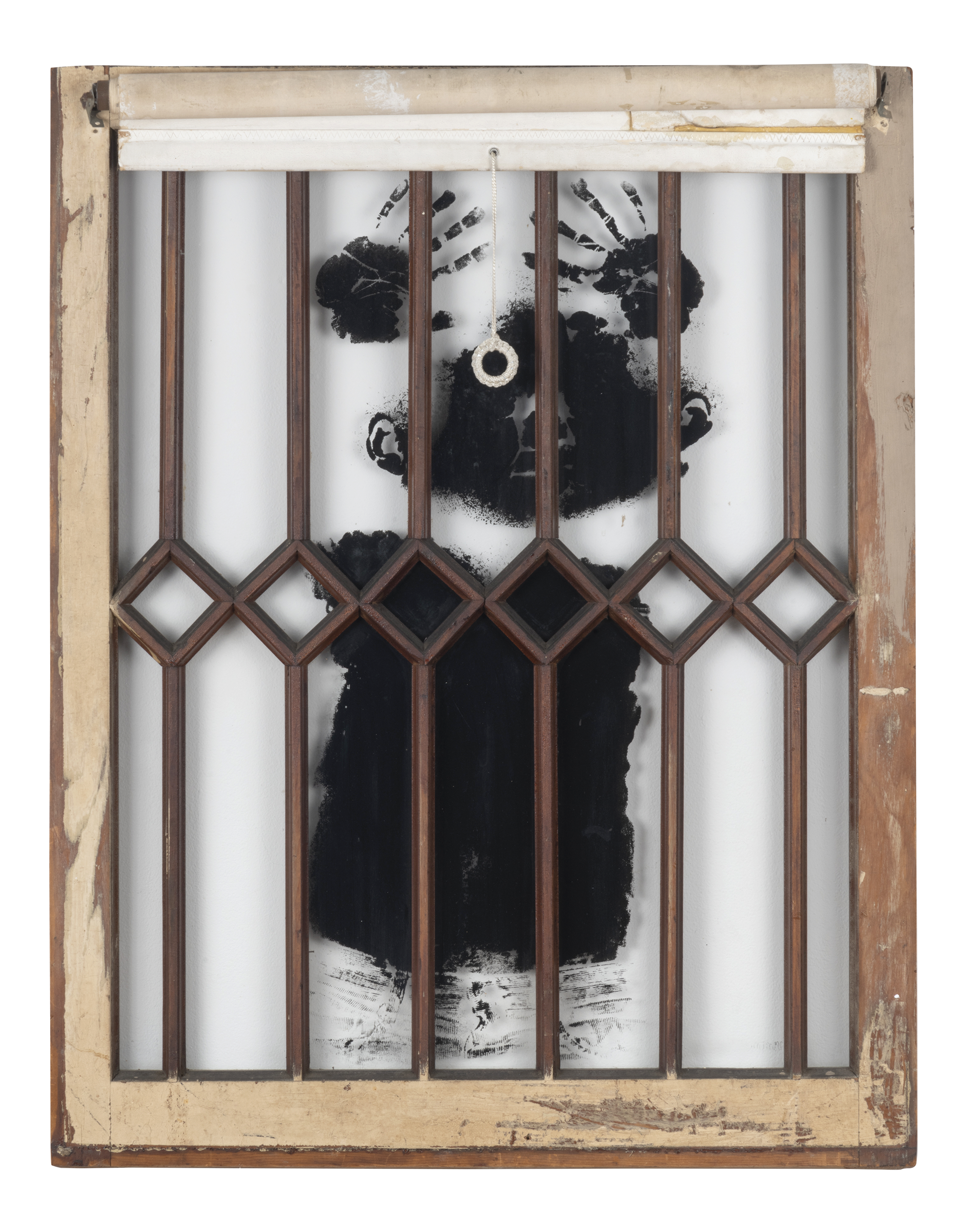 David Hammons, Black Boy's Window, 1968. Silkscreen on glass, 35 3/4 x 27 3/4 inches (90.8 x 68.6 cm). Collection of Liz and Eric Lefkofsky