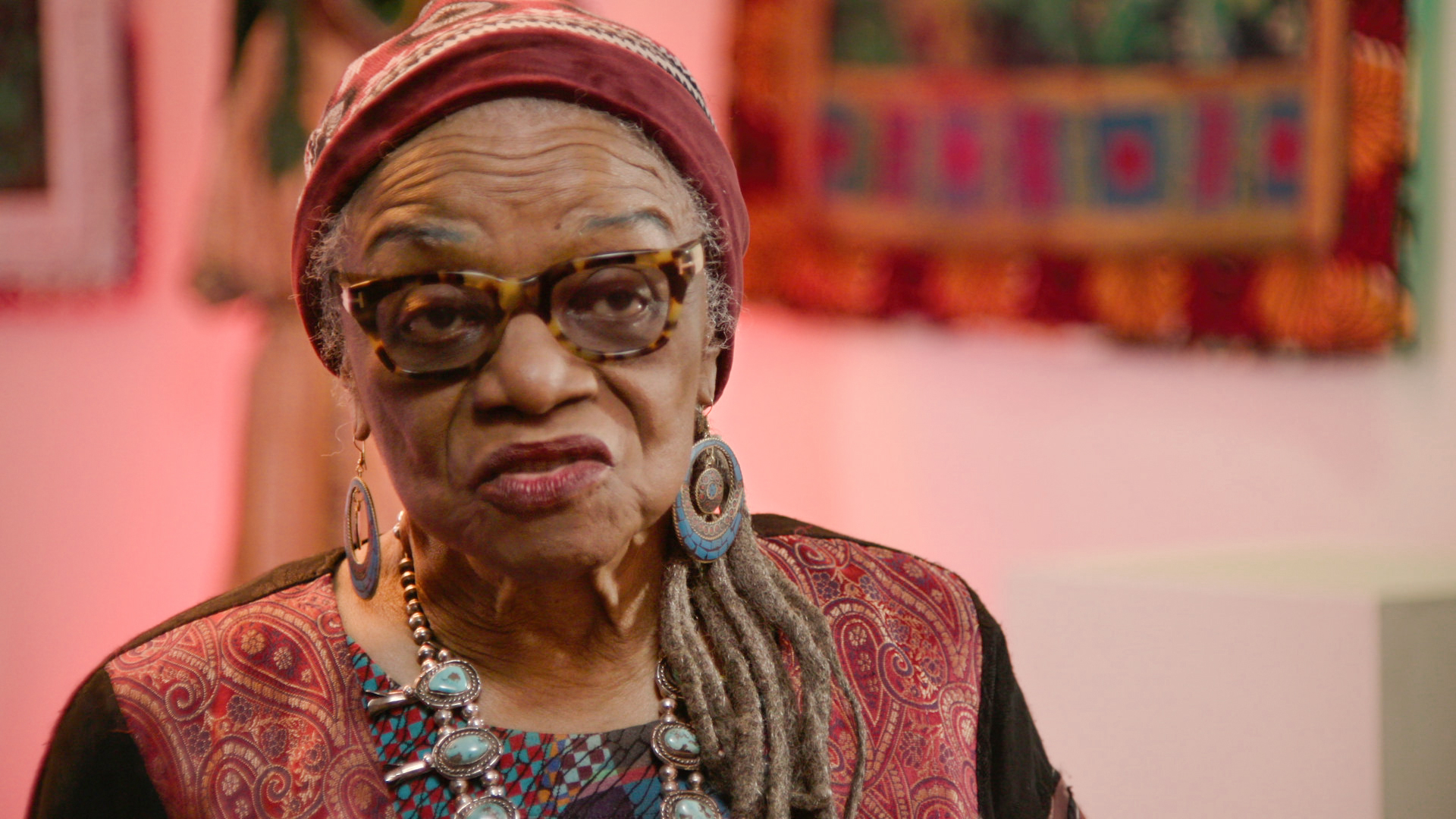 "The artist Faith Ringgold, pictured in a still from the HBO documentary ""Black Art: In the Absence of LIght."" Image courtesy of HBO."