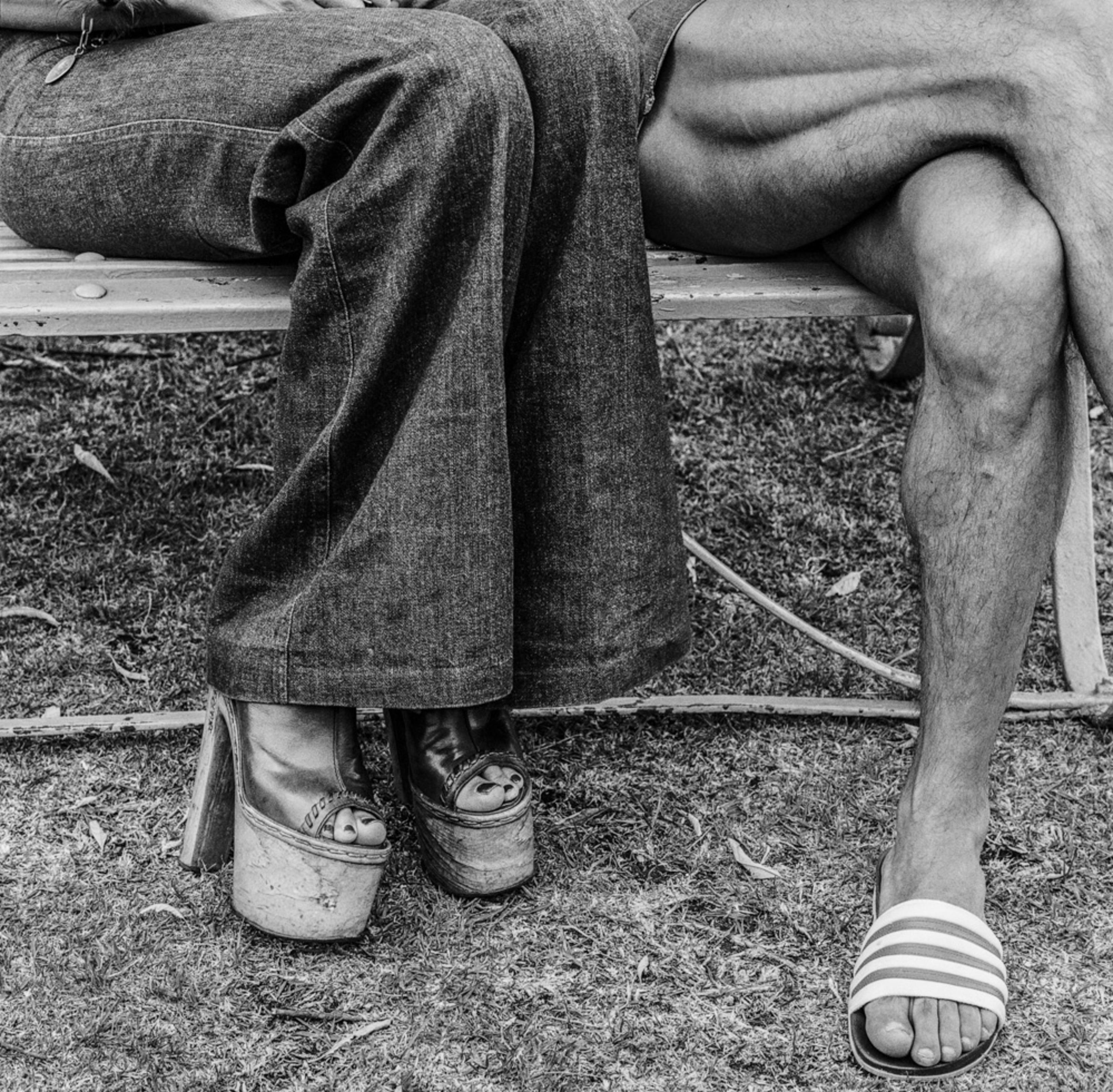 "David Goldblatt, Couple at The Wilds. Johannesburg., 1975. Vintage gelatin silver hand print, 14-1/4"" × 14-1/4"" (36.2 cm × 36.2 cm), image unique. © The David Goldblatt Legacy Trust."