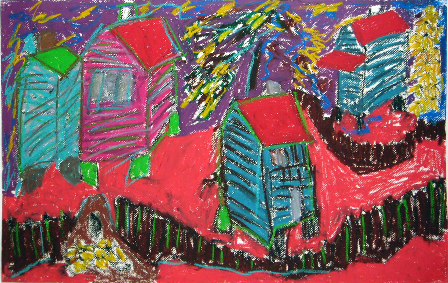 Beverly Buchanan, Hog Mountain Christmas, 1995. Oil pastel on paper, 26.5 x 40.5 inches. Image courtesy Andrew Edlin gallery, New York.