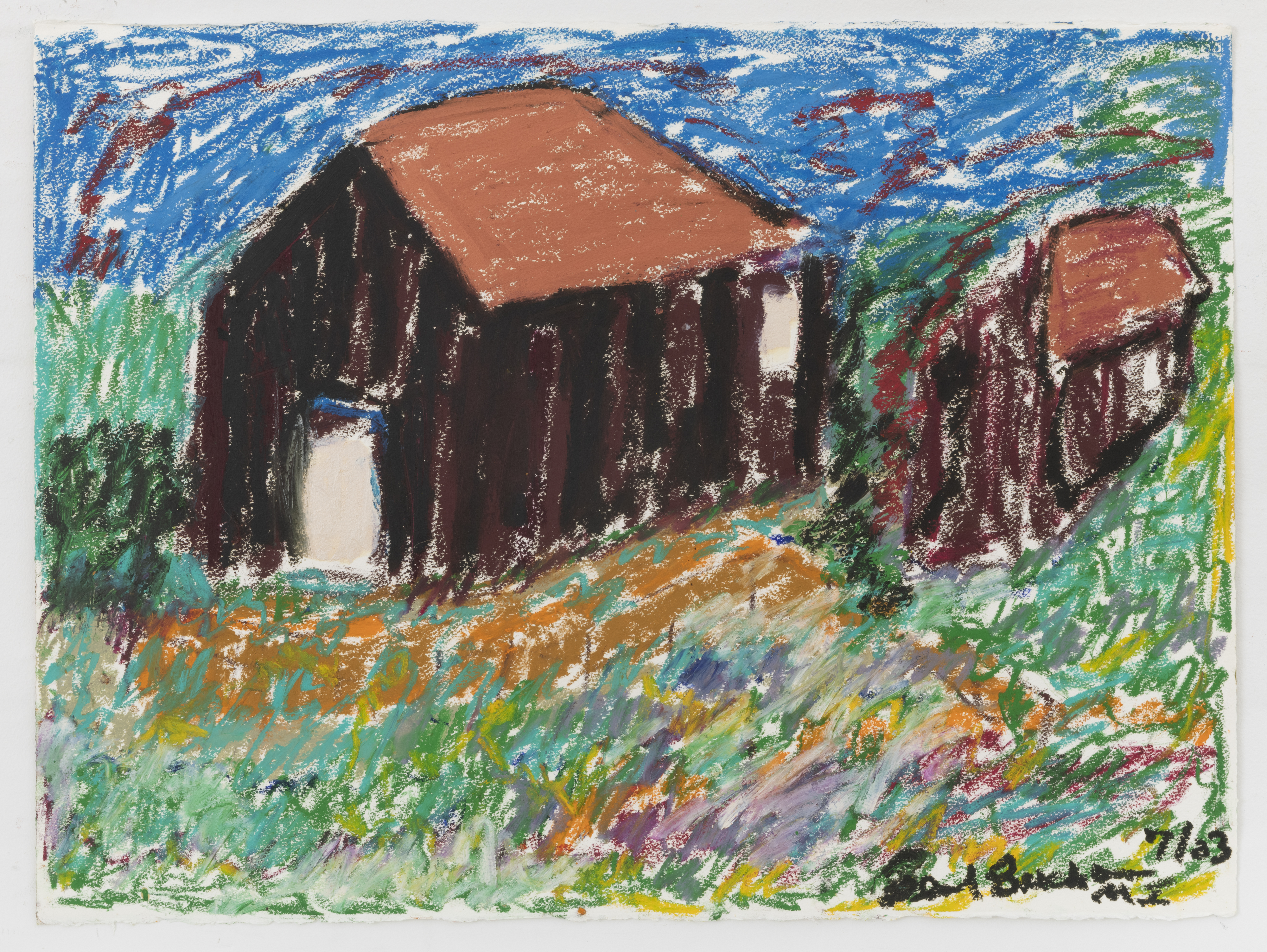Beverly Buchanan, Black Barns – Kentucky, 2003. Oil pastel on paper, 22 x 30 inches. Image courtesy Andrew Edlin gallery, New York.