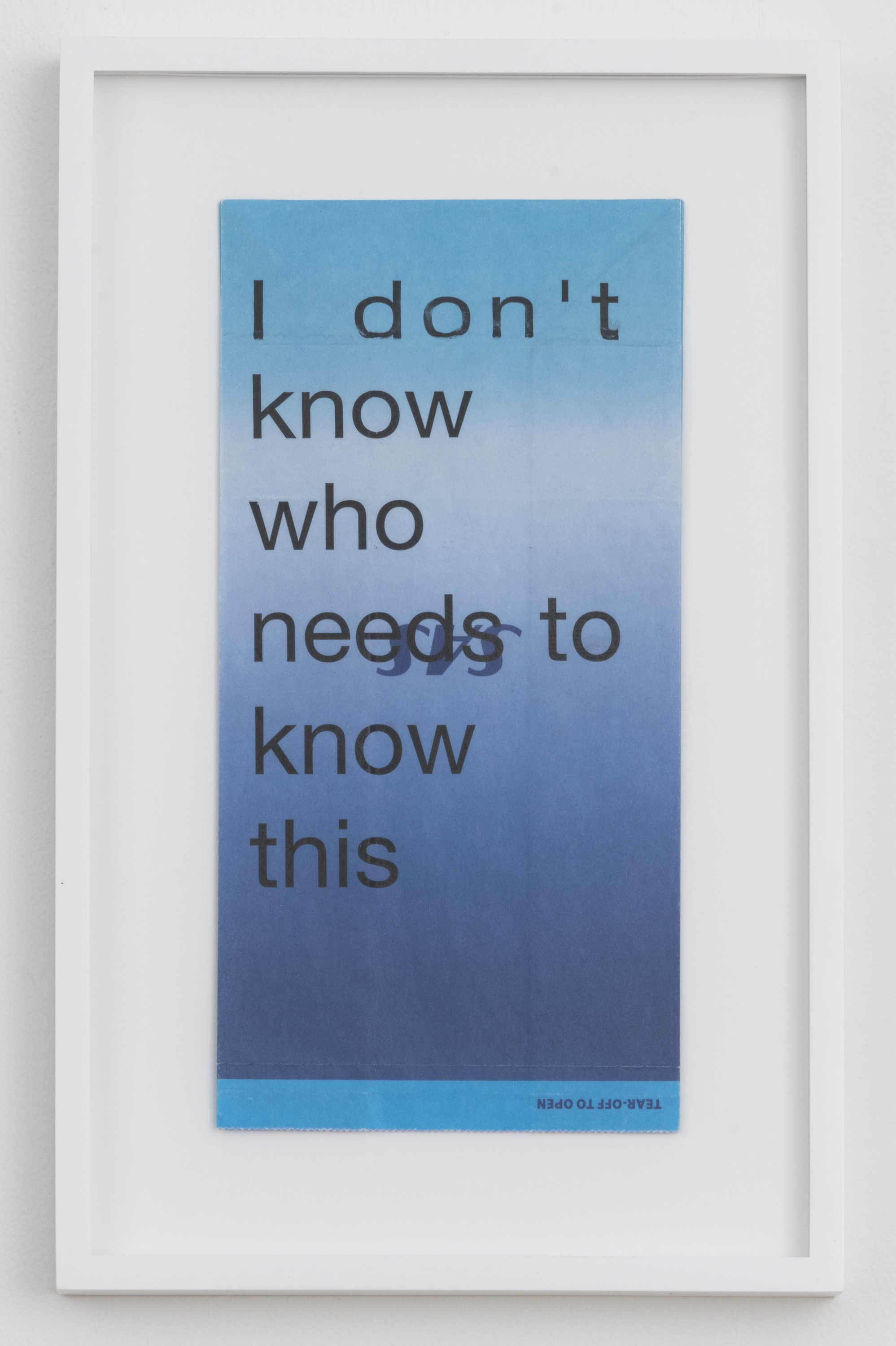 Cory Arcangel I don't know who needs to know this, 2020. Hewlett Packard home office Laserjet on found Scandinavian Airlines vomit bag. Paper: 10 x 5 inches (25.4 x 12.7 cm) Frame: 13 1/4 x 8 1/4 x 1 3/8 inches (33.7 x 21 x 3.5 cm) Courtesy the artist and Greene Naftali, New York