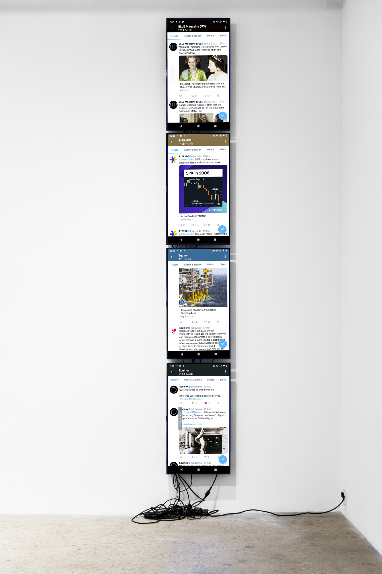 Cory Arcangel, elleusa, equinor, equinox, etrade_financial, 2020. 4-channel video recordings of a live bot performance on Twitter, November 30, 2020. Dimensions variable. Edition of 3, +2APs. Courtesy the artist and Greene Naftali, New York