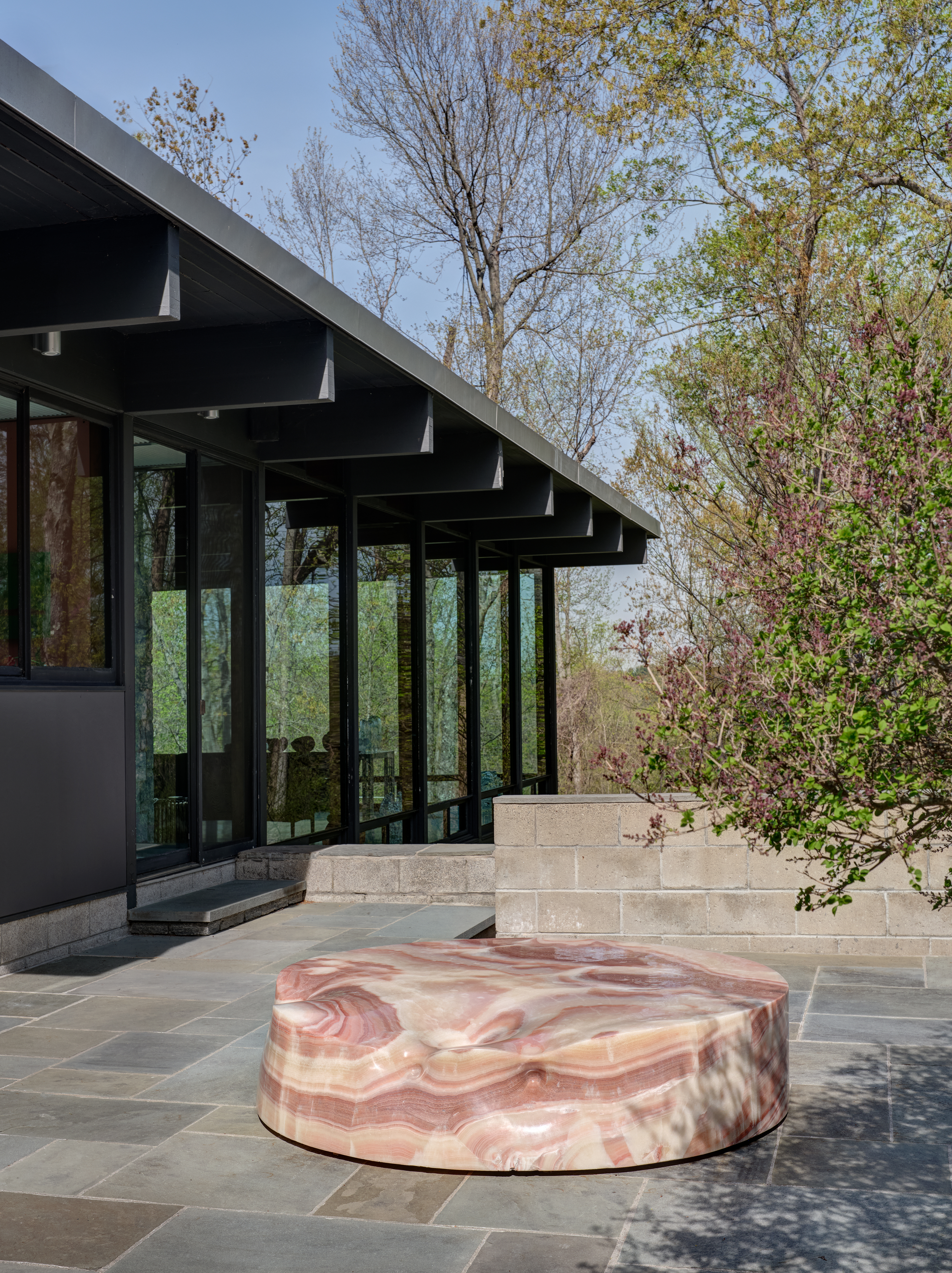 At The Luss House: Blum & Poe, Mendes Wood DM and Object & Thing. The Gerald Luss House, Ossining, New York. Photo by Michael Biondo. Work pictured: Alma Allen, Not Yet Titled (2019).