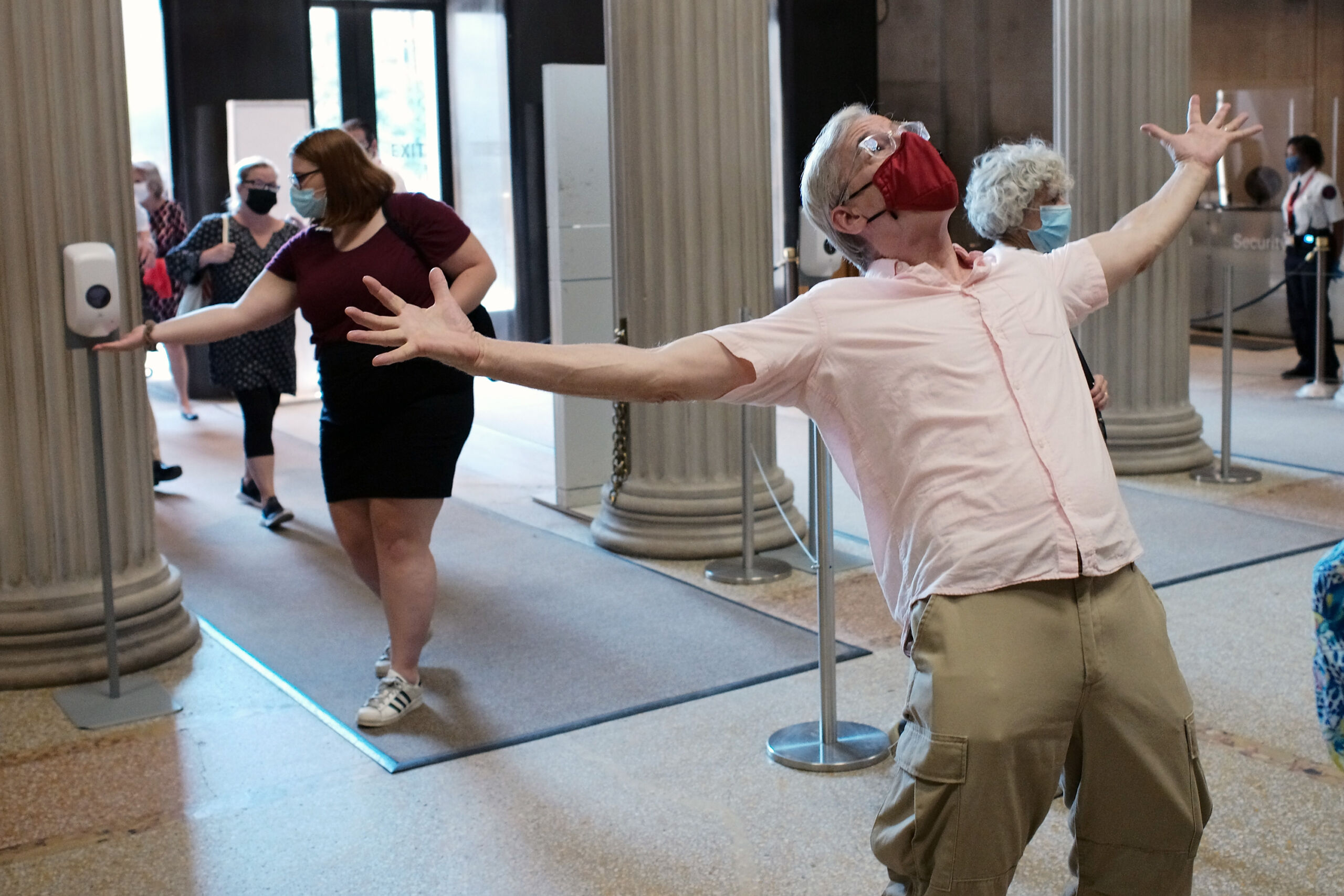 Visitors celebrate as The Met reopens in August 2020 after the closure due to Covid 19. Credit: Taylor Hill © Taylor Hill, 2020. Image courtesy PBS.