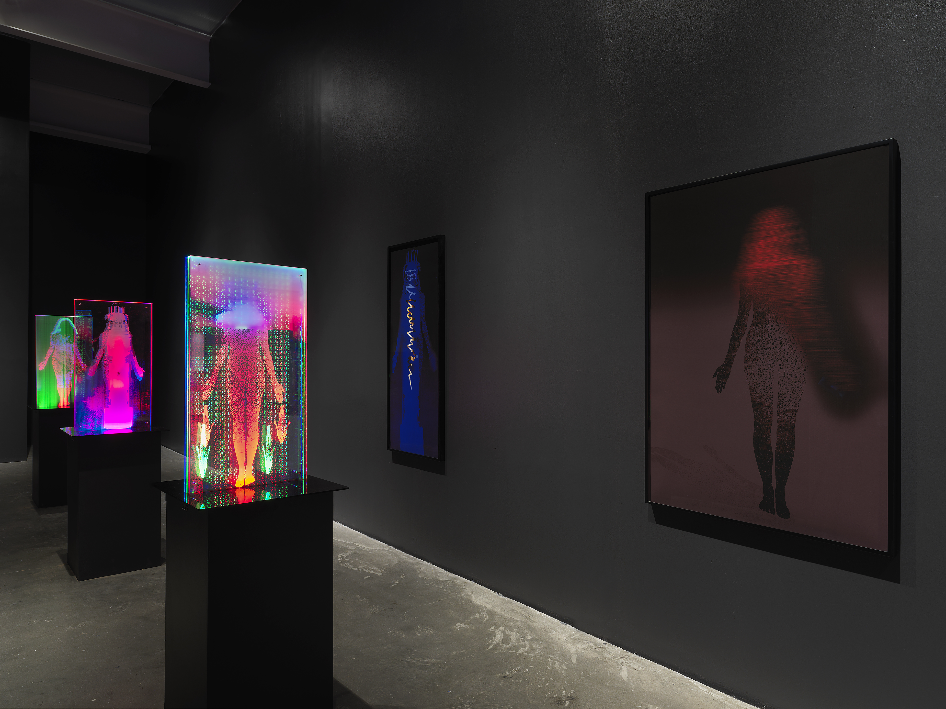 """Installation view of """"Lynn Hershman Leeson: Twisted,"""" at the New Museum, 2021. Courtesy of the New Museum, New York. Photo: Dario Lasagni"""