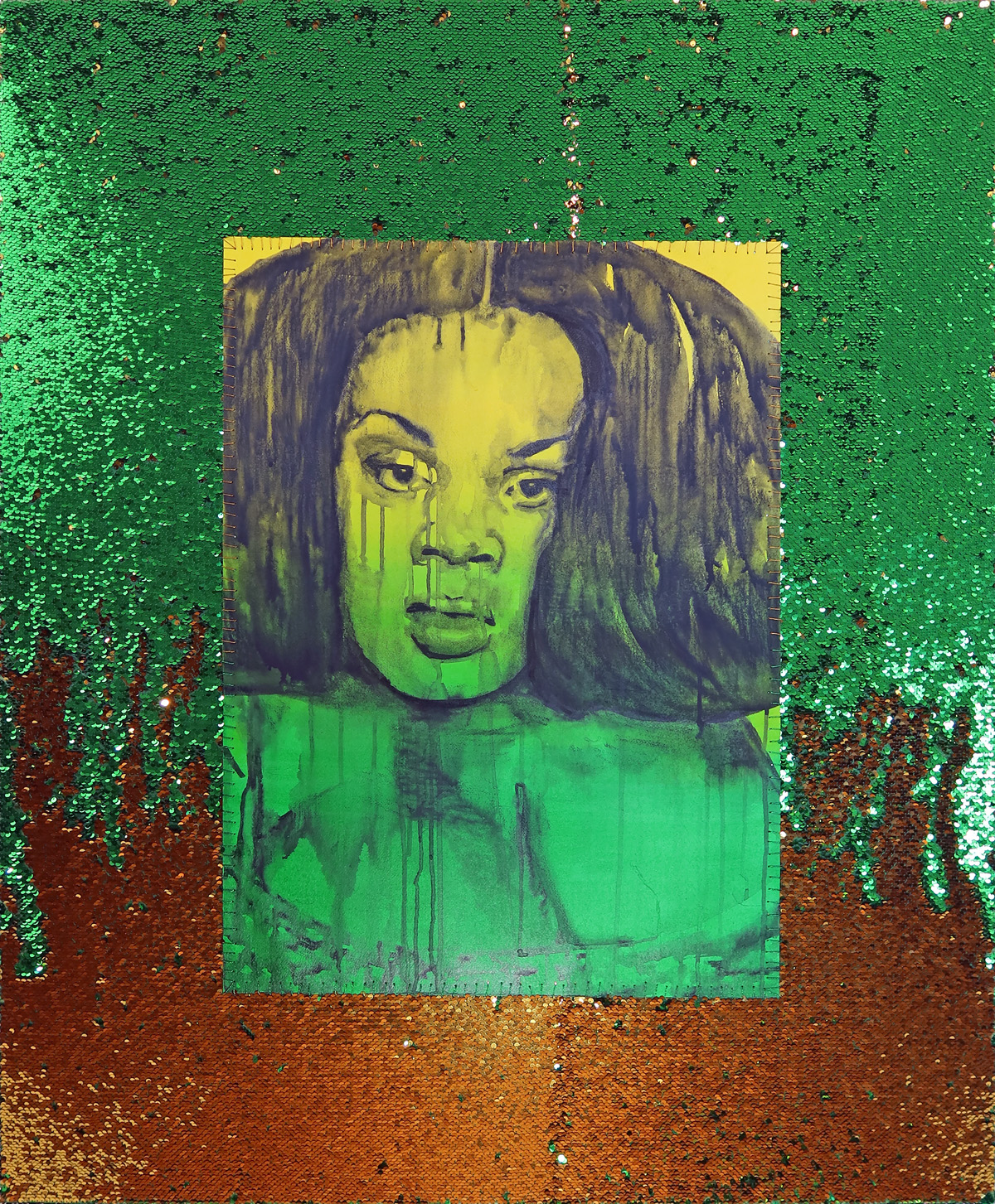 April Bey, <em>Jervae From The Gilda Region (Green and Gold)</em>, 2020. Courtesy the artist and GAVLAK Los Angeles / Palm Beach.