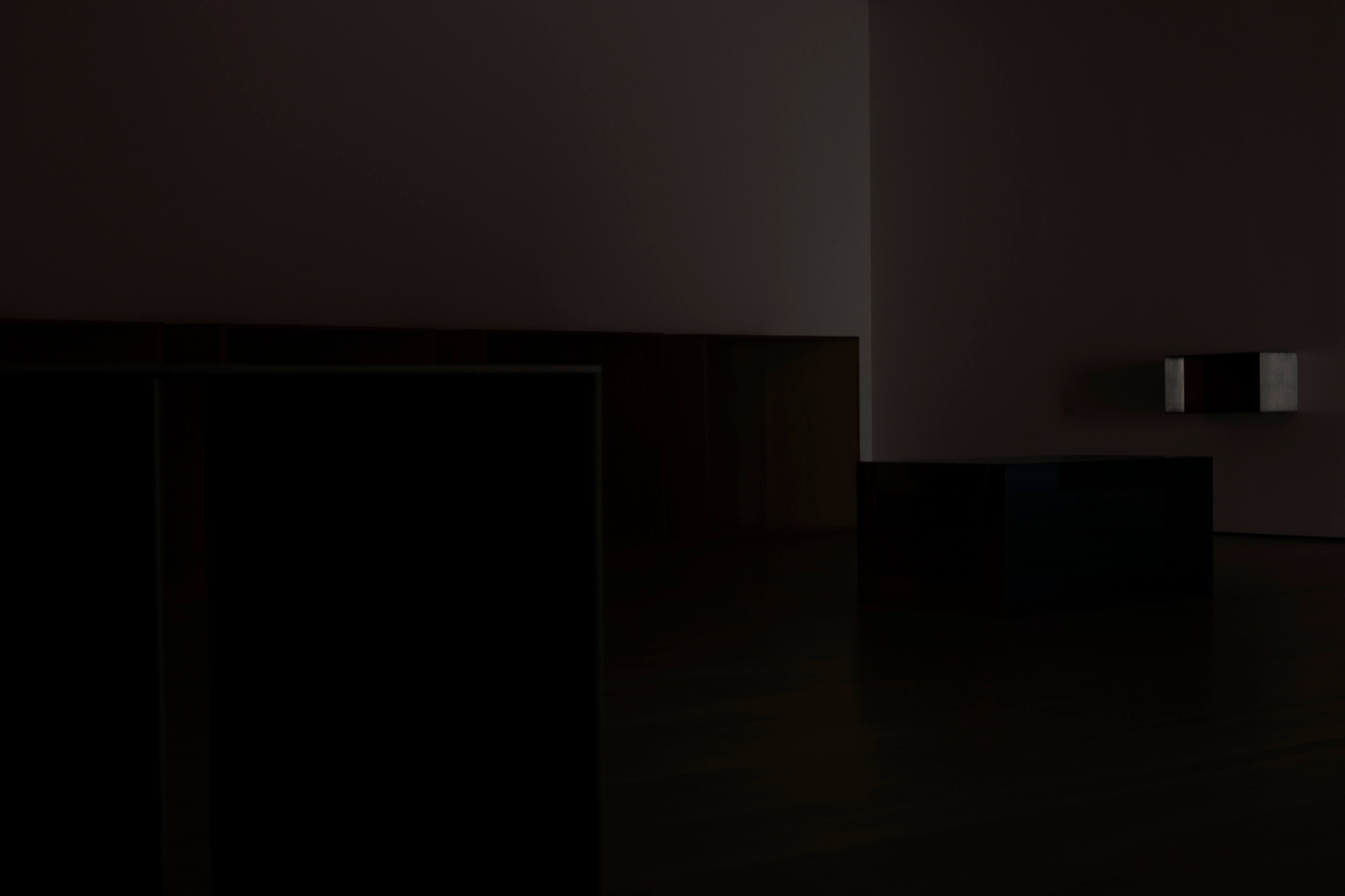 Louise Lawler, <em>Untitled (First Night)</em>, 2021.Dye sublimation print on museum box, 48 x 72 inches (121.9 x 182.9 cm). Courtesy of the artist and Metro Pictures, New York.