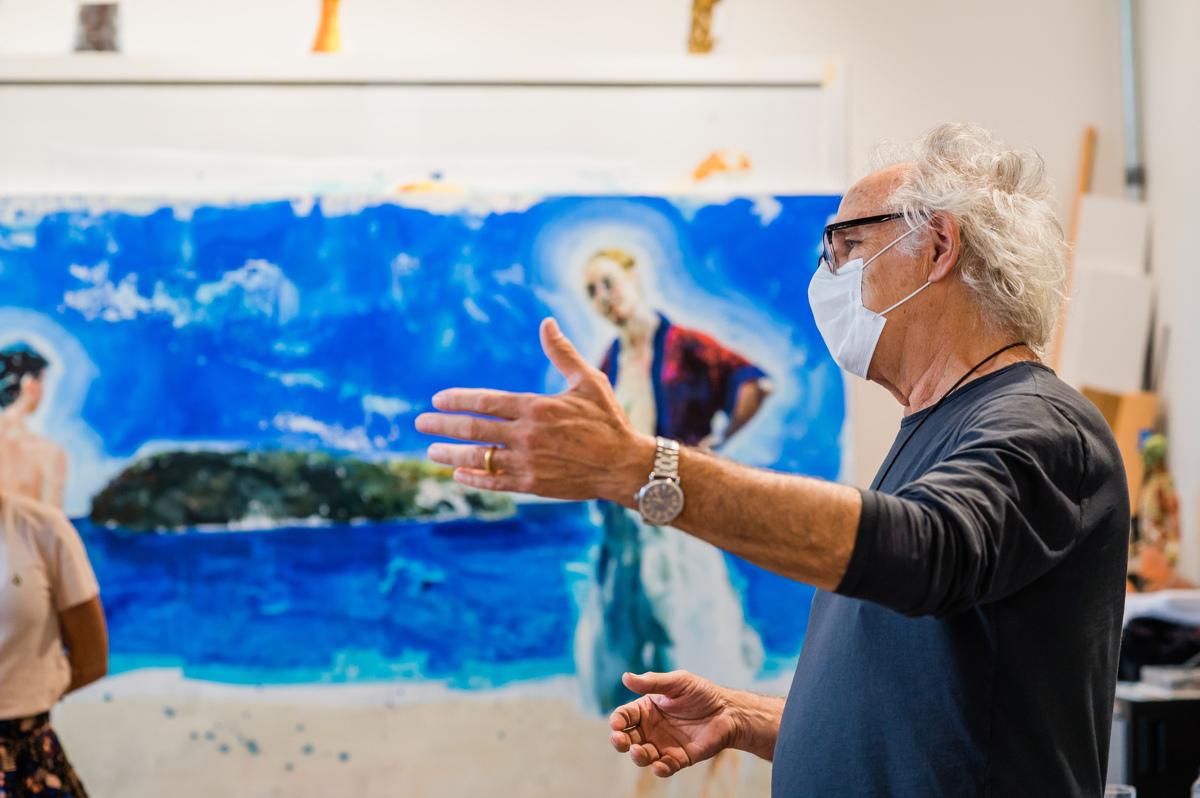 The painter Eric Fischl in his studio, Sag Harbor, New York.. Photo: Mark Kopko Photography