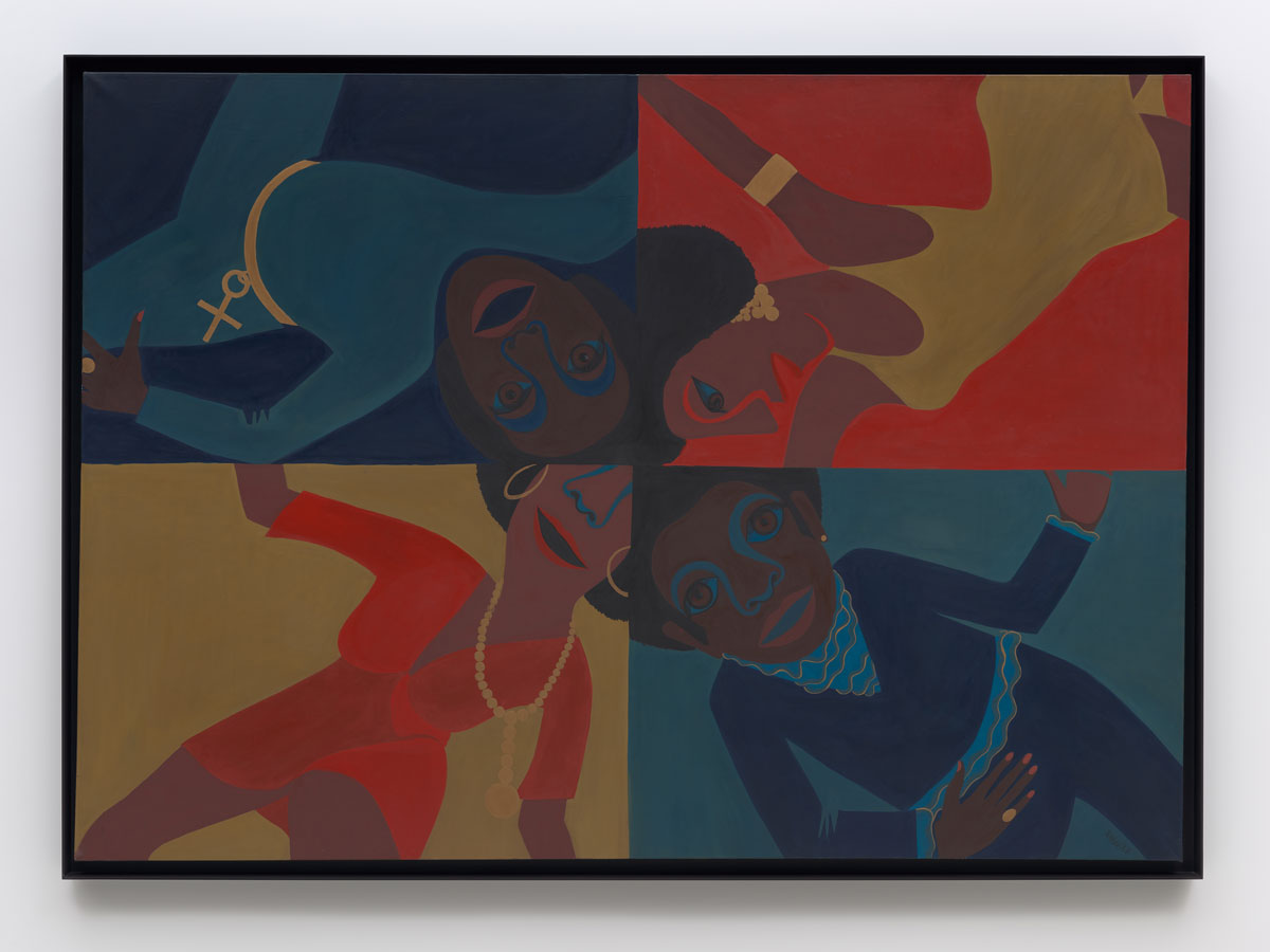 Faith Ringgold Black Light #12: Party Time, 1969 oil on canvas 60 in x 86 in © 2021 Faith Ringgold / Artists Rights Society (ARS), New York, Courtesy ACA Galleries, New York Courtesy: Glenstone Museum Photo: Ron Amstutz