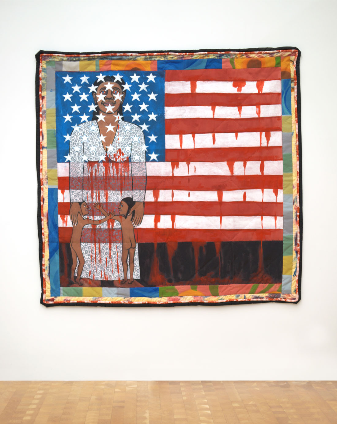 Faith Ringgold The American Collection #6: The Flag is Bleeding #2, 1997 acrylic on canvas with painted and pieced border 76 in x 79 in © 2020 Faith Ringgold / Artists Rights Society (ARS), New York, Courtesy ACA Galleries, New York Courtesy: Glenstone Museum