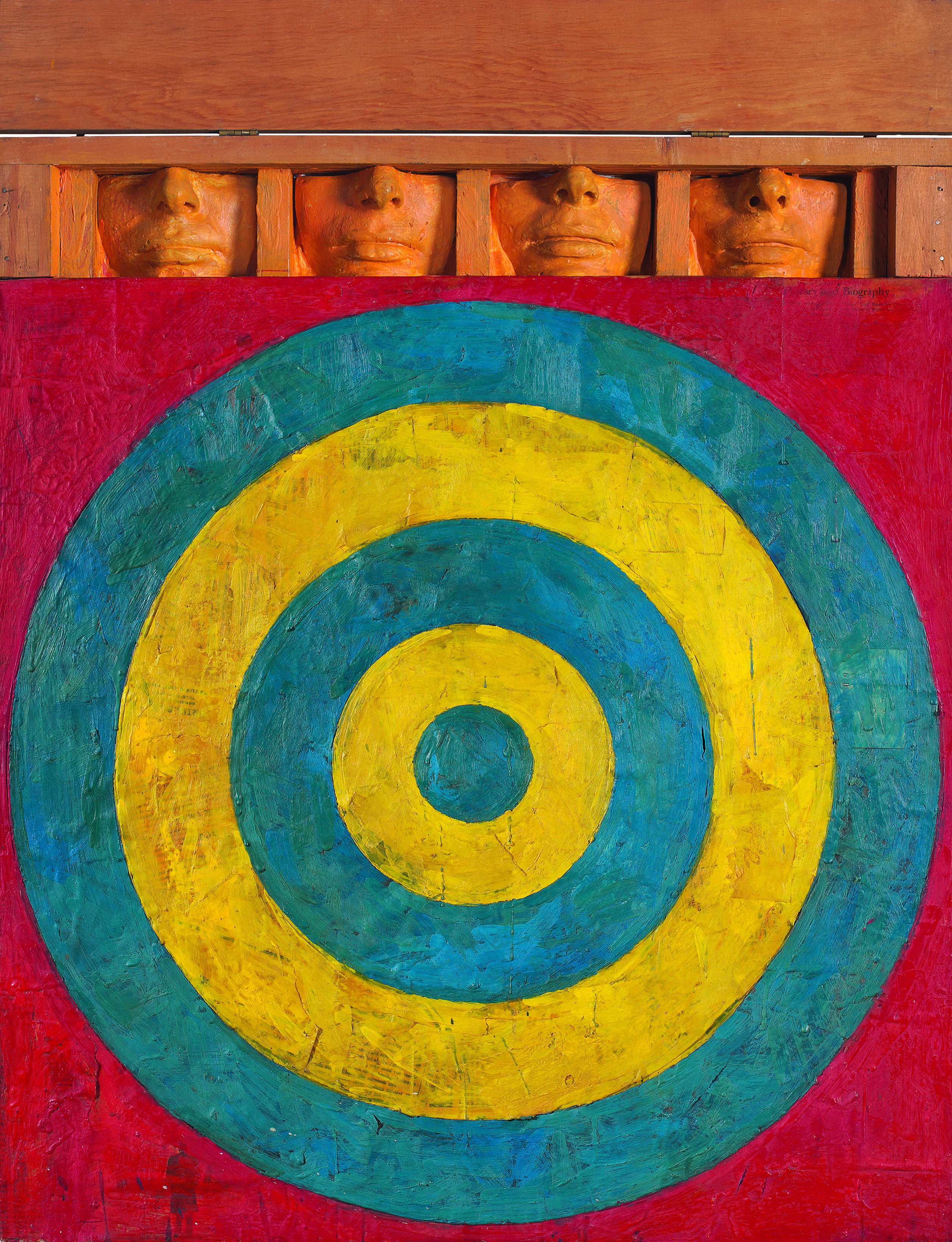 Jasper Johns, _Target with Four Faces_, 1955. Encaustic and collage on canvas with objects, 29 3/4 × 26 in. (75.6 × 66 cm). The Museum of Modern Art, New York; gift of Mr. and Mrs. Robert C. Scull 8.1958. © 2021 Jasper Johns / Licensed by VAGA at Artists Rights Society (ARS), NY. Photograph by Jamie Stukenberg, Professional Graphics, Rockford, Illinois.