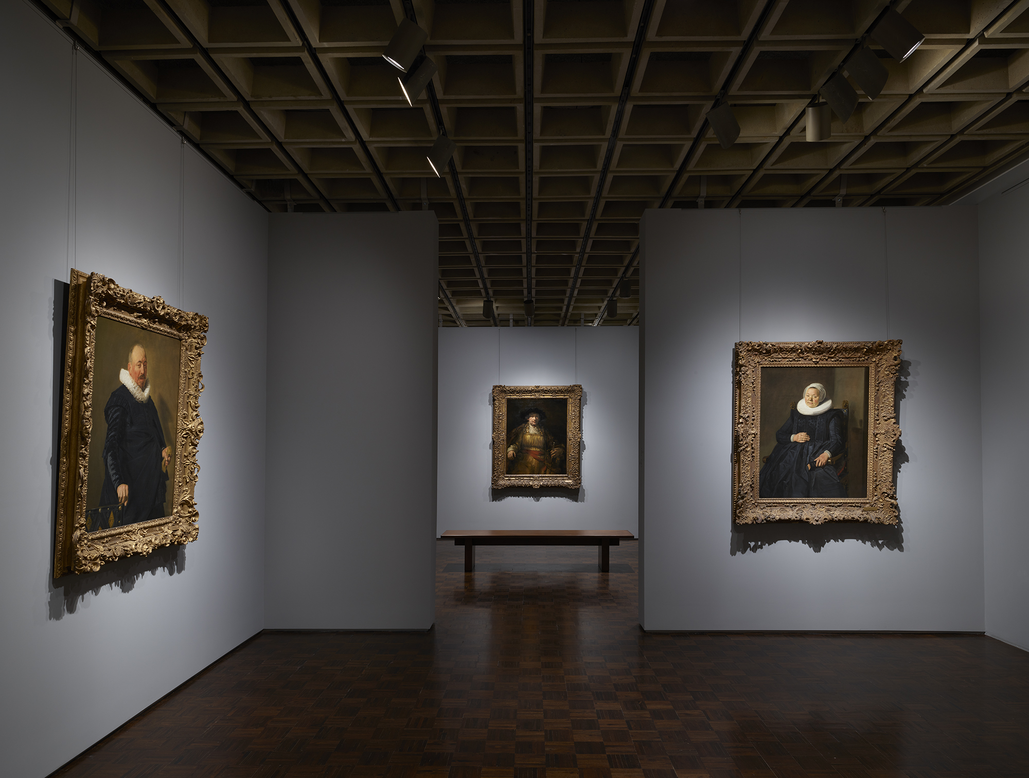 Dutch portraits by Frans Hals, with a view through to Rembrandt's Self-Portrait, 1658, as shown at Frick Madison by The Frick Collection; photo: Joe Coscia