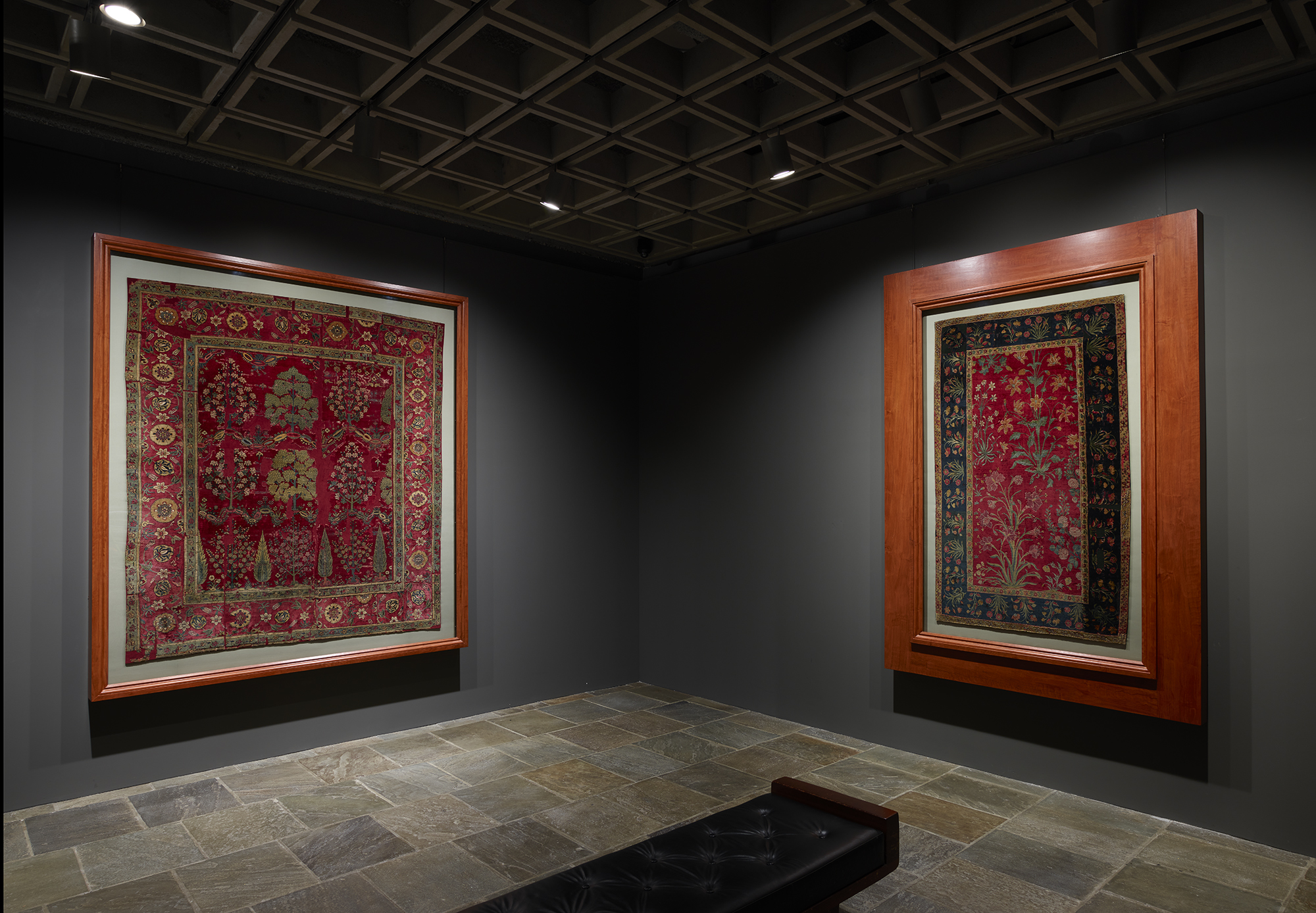 Two rare and infrequently displayed seventeenth-century Indian Mughal carpets from The Frick Collection occupy this gallery at Frick Madison; photo: Joe Coscia