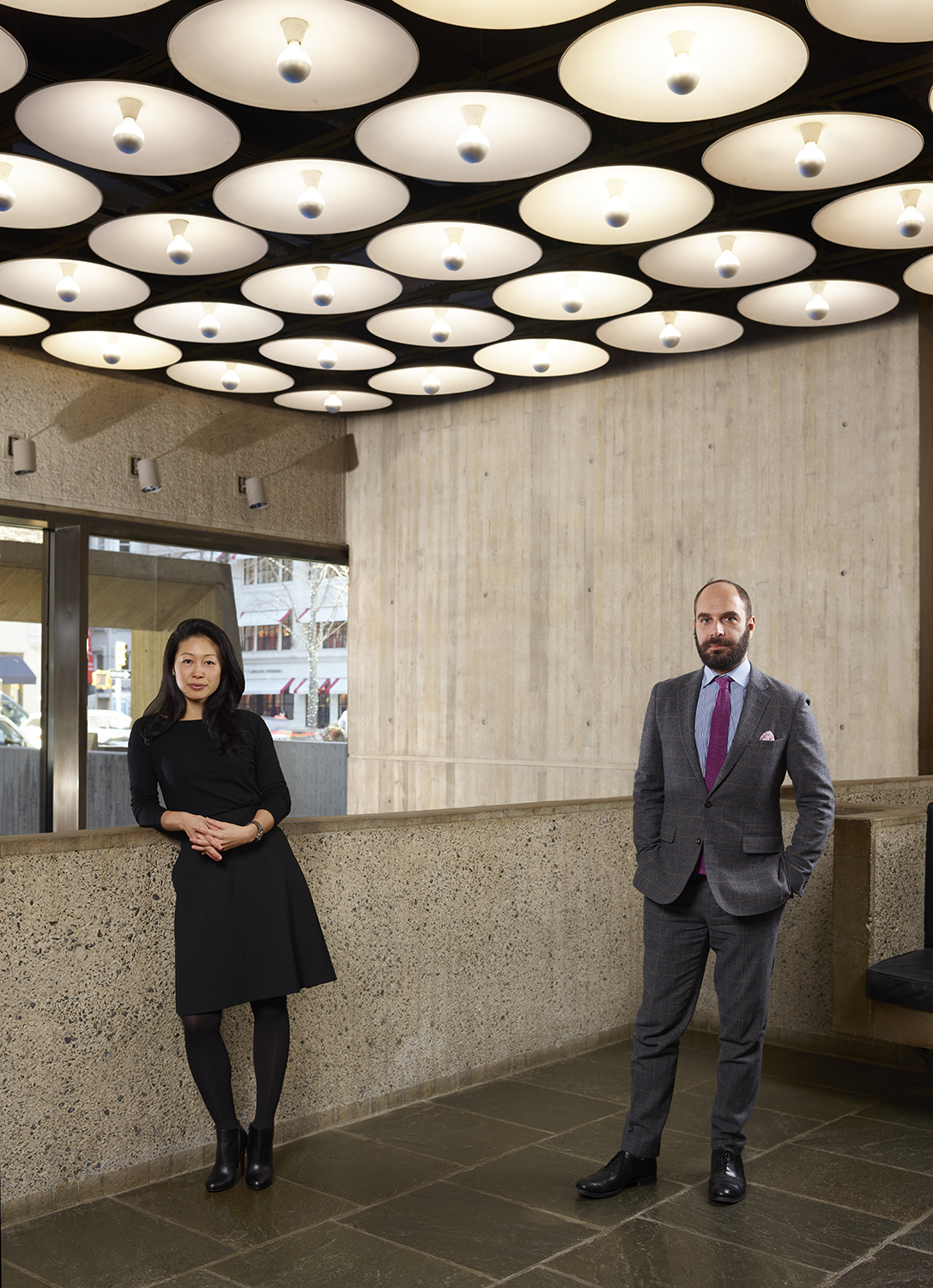 In the lobby of Frick Madison, Aimee Ng, Curator, and Xavier F. Salomon, Deputy Director and Peter Jay Sharp Chief Curator. Photo: Joe Coscia