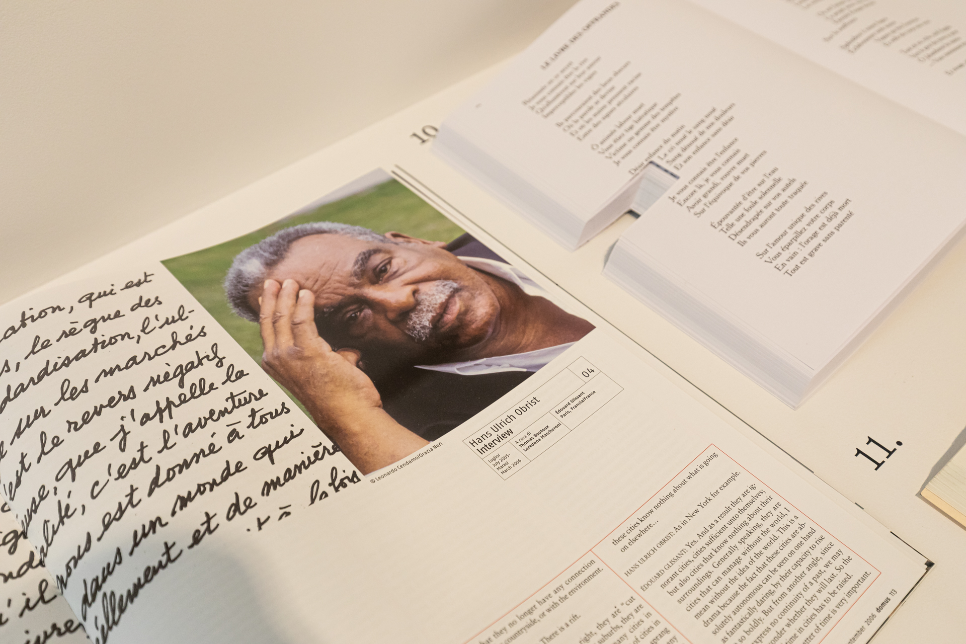 A selection from Hans Ulrich Obrist's archives on Édouard Glissant, at LUMA Arles, 2021. Photo: Adrian Deweerdt.