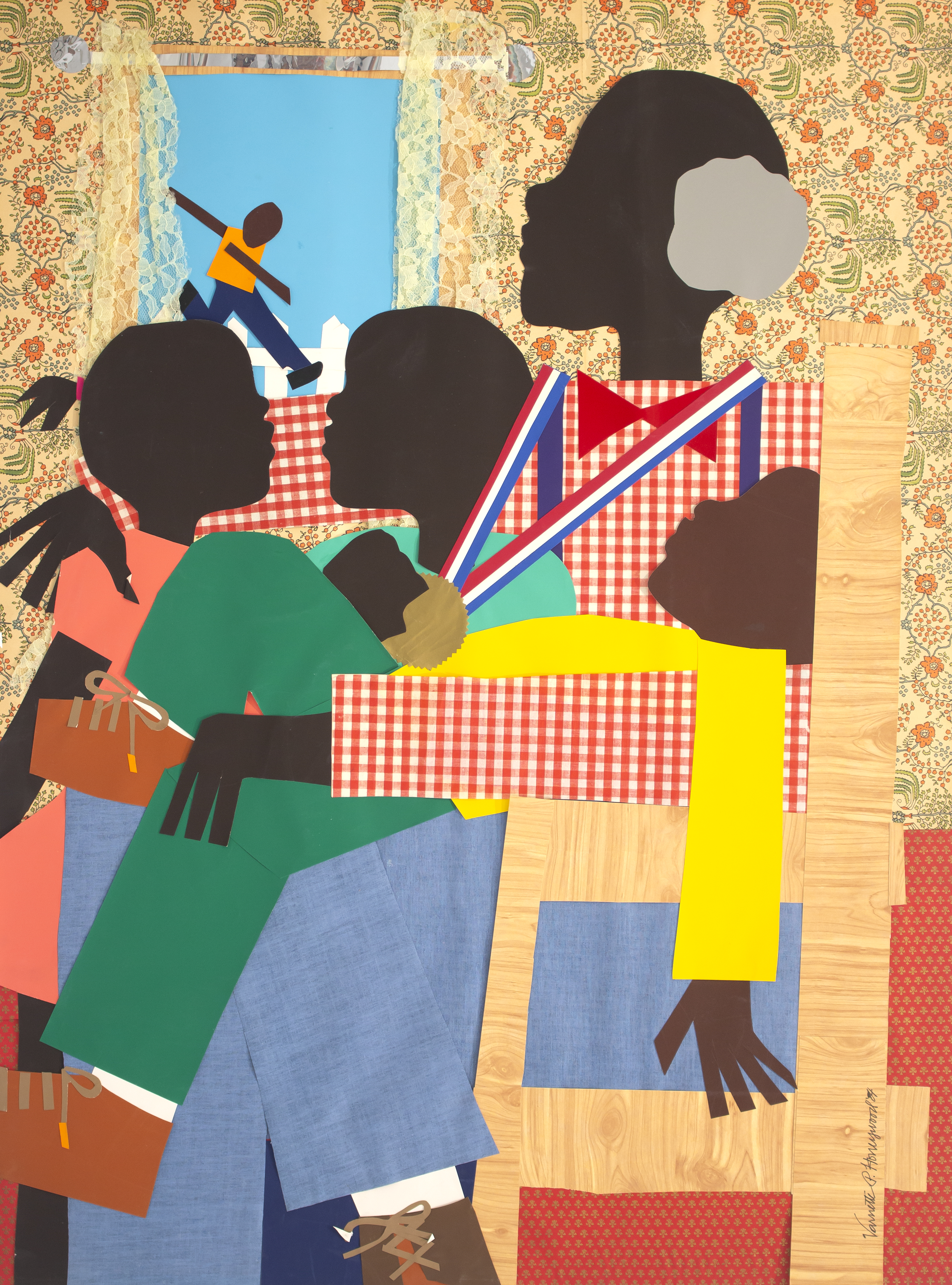 Varnette Patricia Honeywood, Family Time, 1984, 30 x 30 in, collage on board