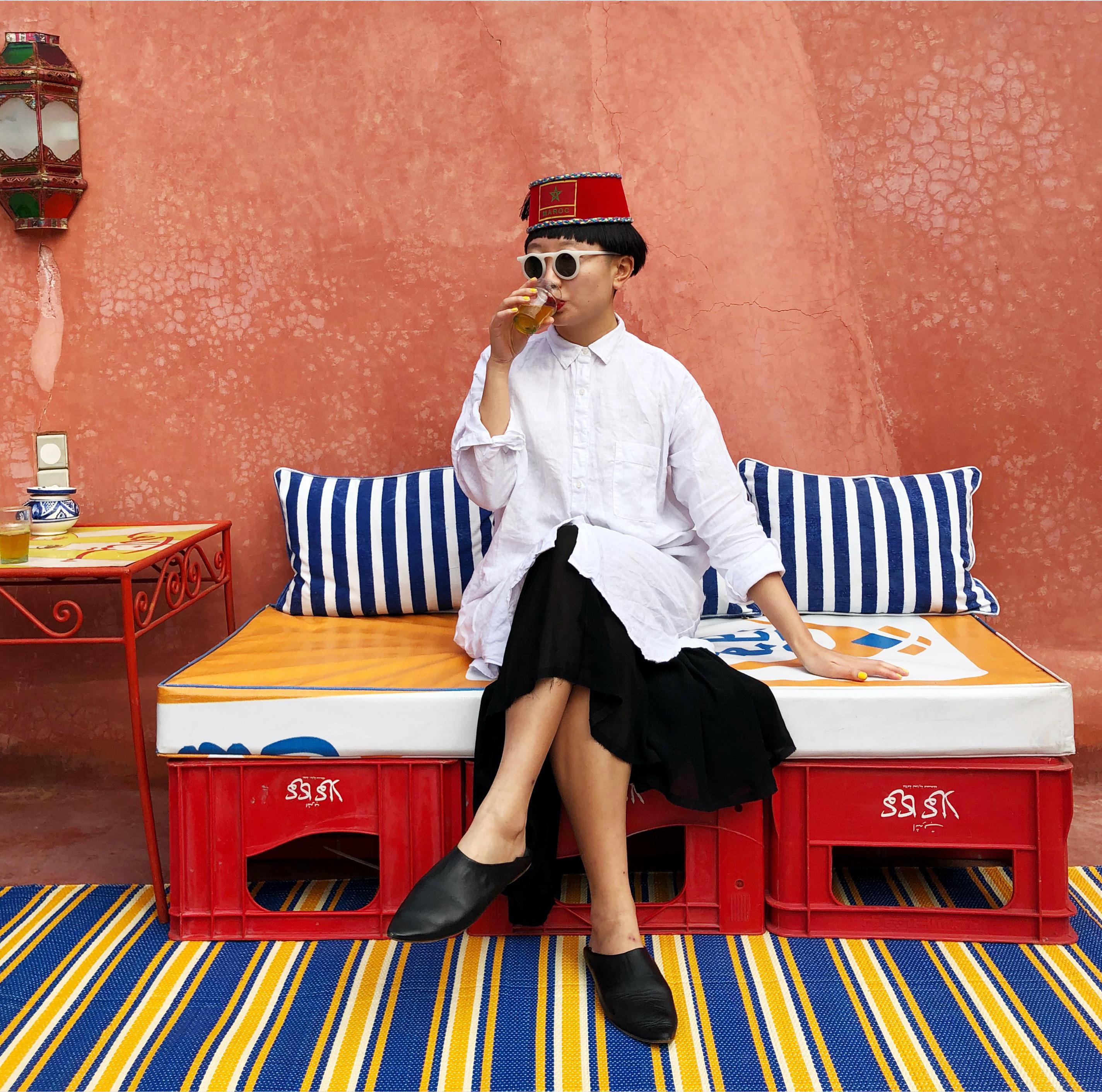 JiaJia Fei at artist Hassan Hajjaj's Studio Riad Yima in Marrakech, Morocco, for the 1-54 Art Fair 2018