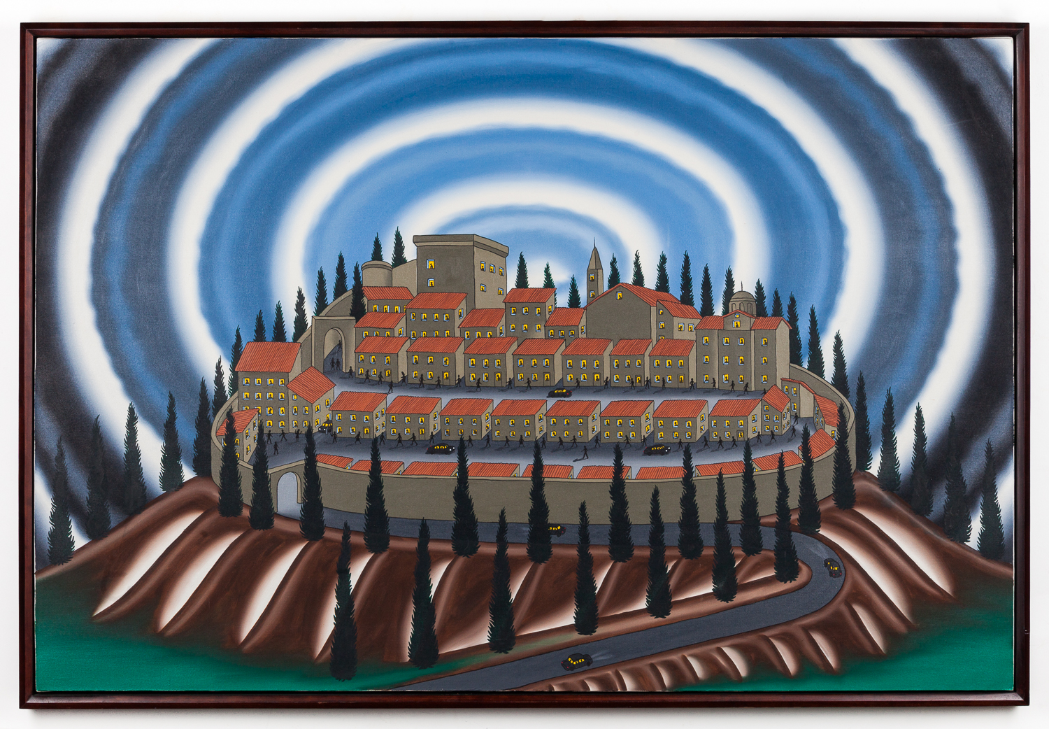 Roger Brown, A Visit To A Small Italian City, 1991, in the Gupta Moss collection, Chicago.