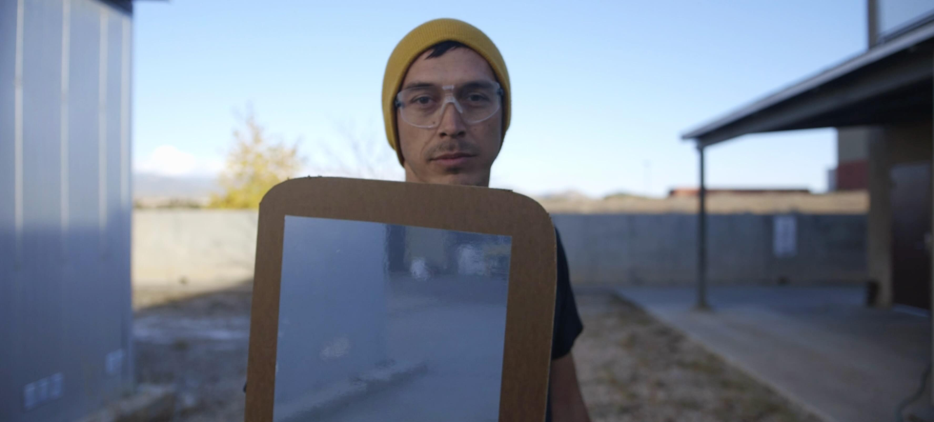 _How To Build Mirror Shields For Water Protectors_. Cannupa Hanska Luger, 2016. Video Image Still. Camera/Edit Razelle Benally.