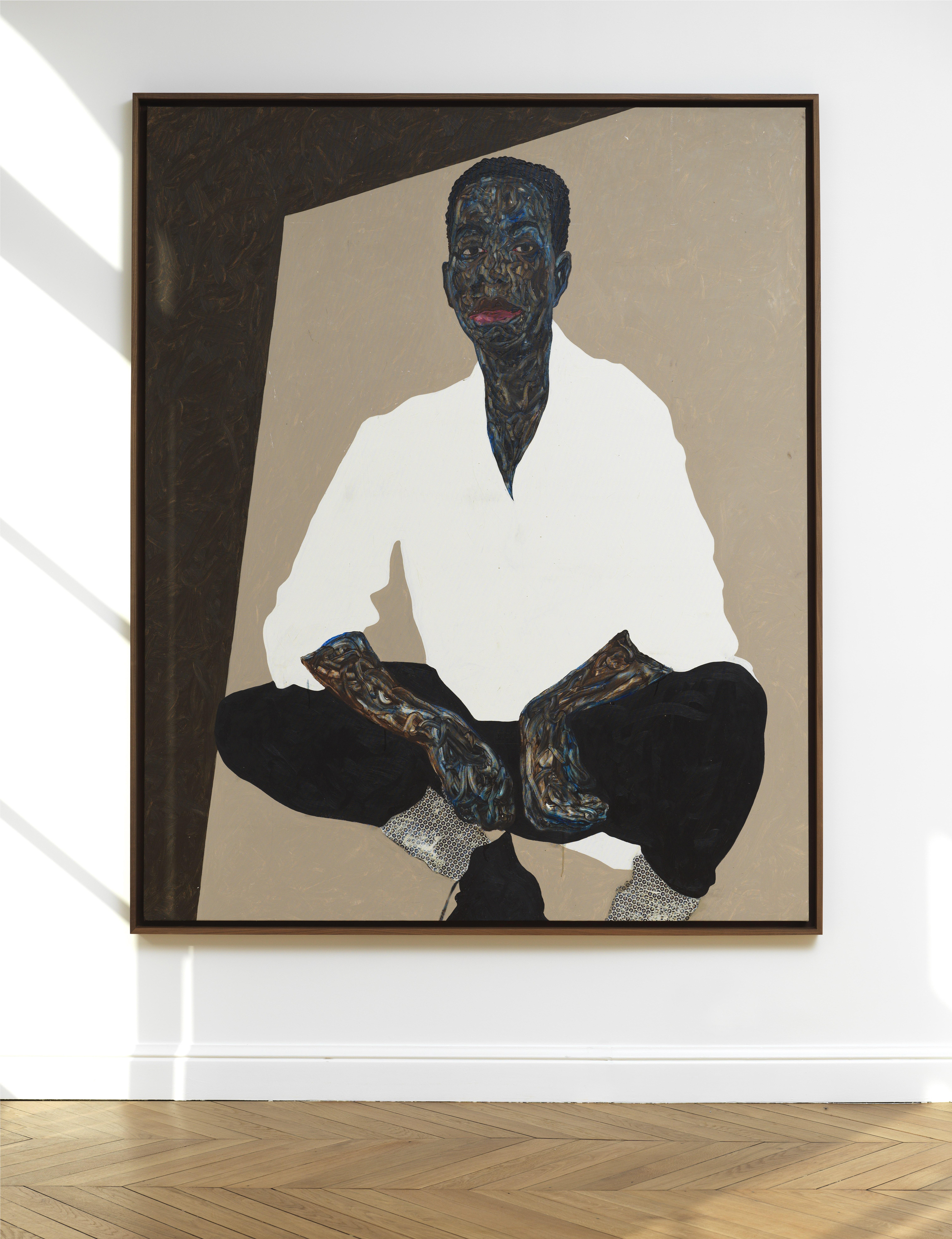 Amoako Boafo, _Black Pants_, 2020. Photo by Fabrice Gousset. Courtesy of Mariane Ibrahim.