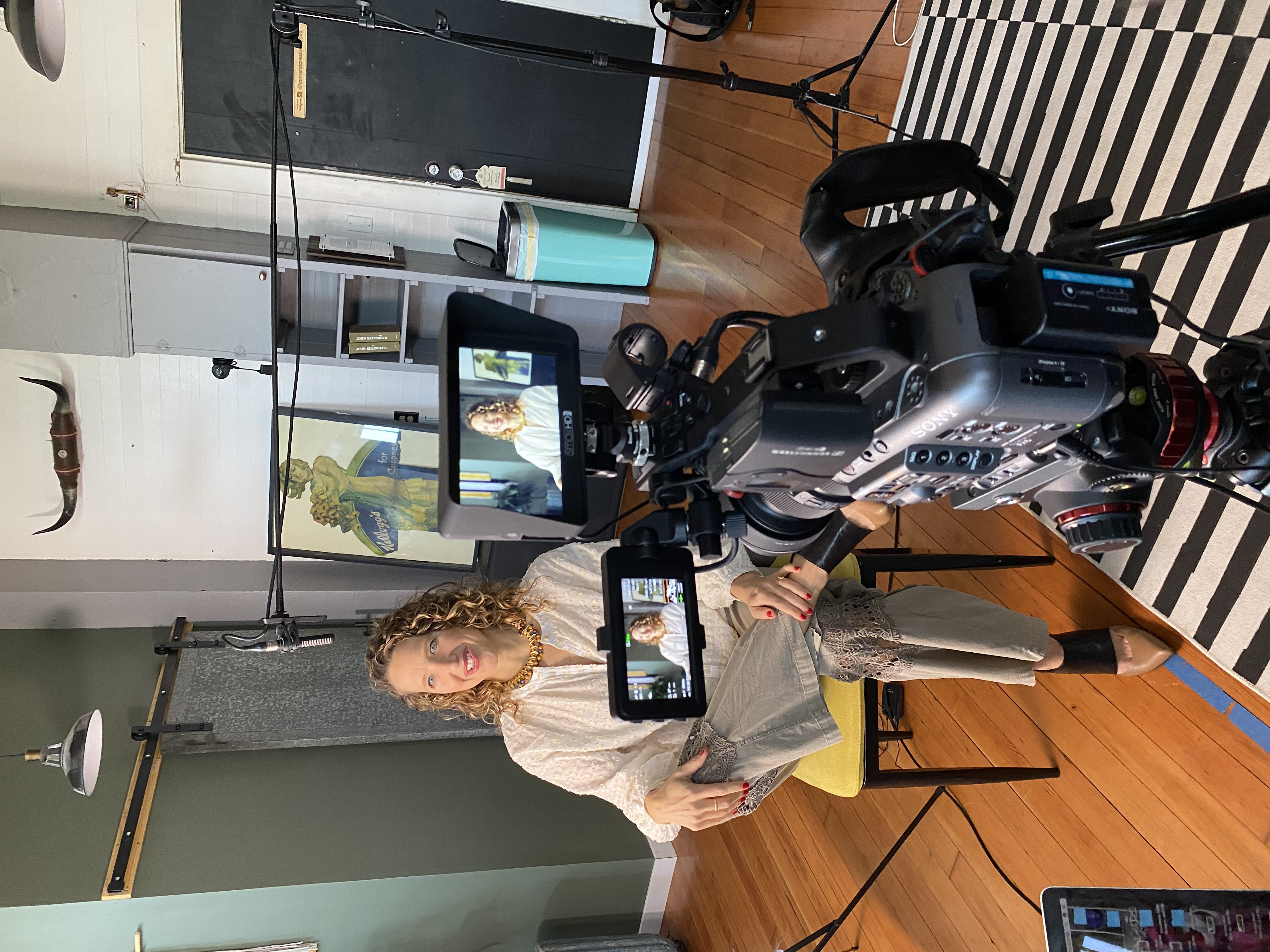 """Jen Graves being interviewed for the film """"Out of the Picture."""" Photo by Erin Timony Bump."""