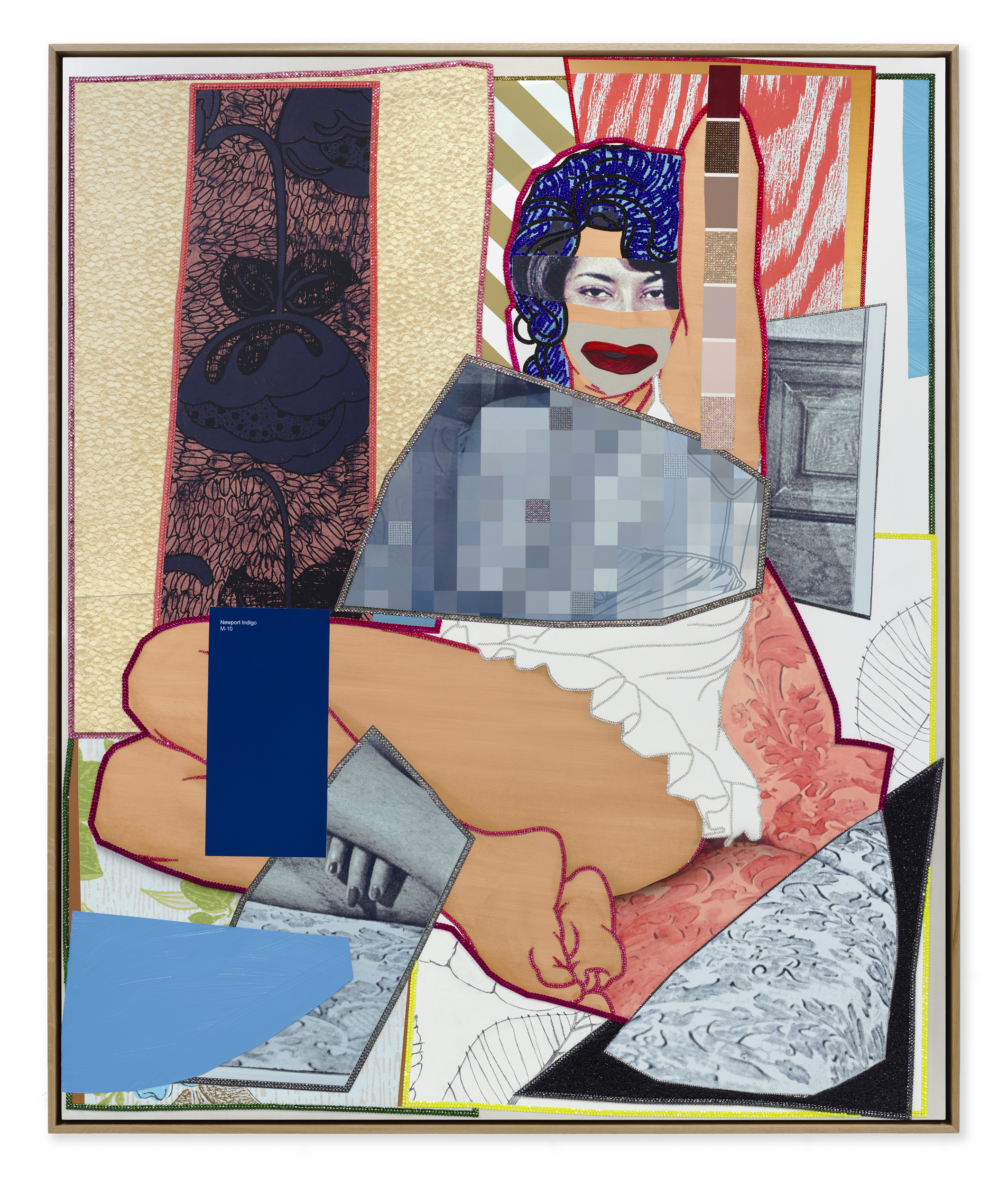 Mickalene Thomas, _August 1975_, 2021. Rhinestones, graphite, glitter, acrylic, and oil on canvas mounted on wood panel with oak frame 86⅛ x 72⅛ inches (218.8 x 183.2 cm). © Mickalene Thomas / Artists Rights Society (ARS), New York.