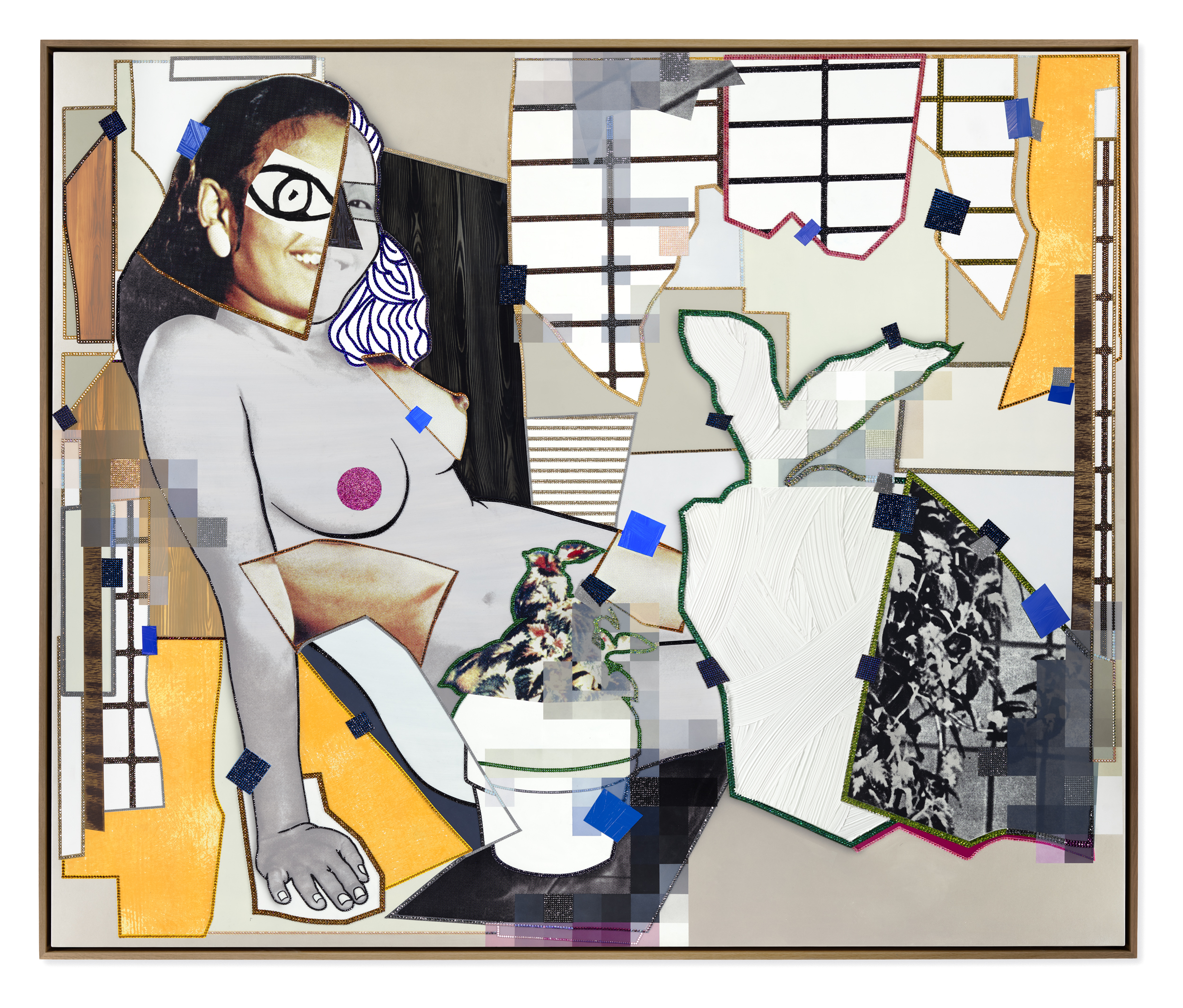 Mickalene Thomas, _February 1976_, 2021. Rhinestones, glitter, charcoal, acrylic, and oil on canvas mounted on wood panel with oak frame 82⅛ x 98⅛ inches (208.6 x 249.2 cm). © Mickalene Thomas / Artists Rights Society (ARS), New York.