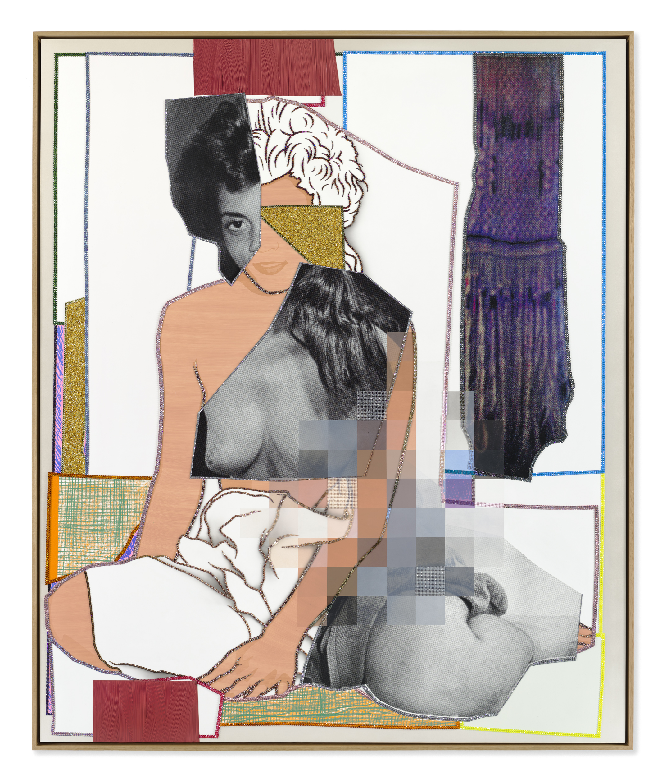 Mickalene Thomas, _May 1977_, 2021. Rhinestones, glitter, acrylic, and oil on canvas mounted on wood panel with oak frame 98⅛ x 82⅛ inches (249.2 x 208.6 cm). © Mickalene Thomas / Artists Rights Society (ARS), New York.