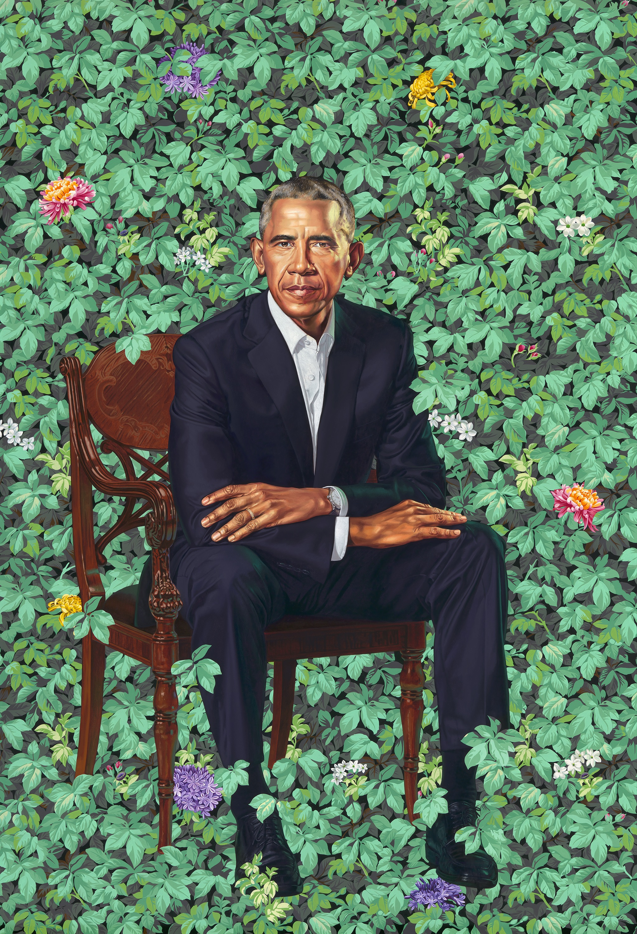 _Barack Obama_ by Kehinde Wiley, oil on canvas, 2018. National Portrait Gallery, Smithsonian Institution. The National Portrait Gallery is grateful to the following lead donors for their support of the Obama portraits: Kate Capshaw and Steven Spielberg; Judith Kern and Kent Whealy; Tommie L. Pegues and Donald A. Capoccia. © 2018 Kehinde Wiley